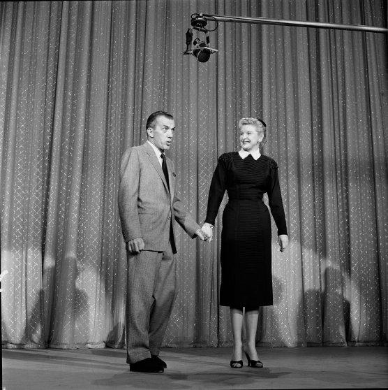 Ed Sullivan talks with Elaine Stritch on TOAST OF THE TOWN on November 14, 1954.