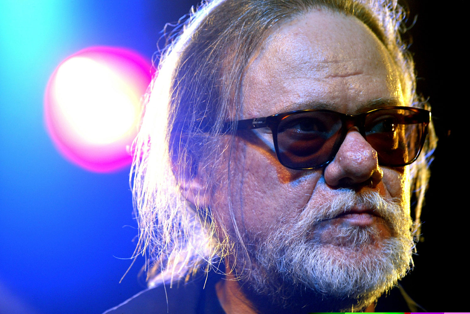Tommy Ramone addresses the media after a rehearsal of the musical 'Gabba Gabba Hey !' in Berlin, May 3, 2005.