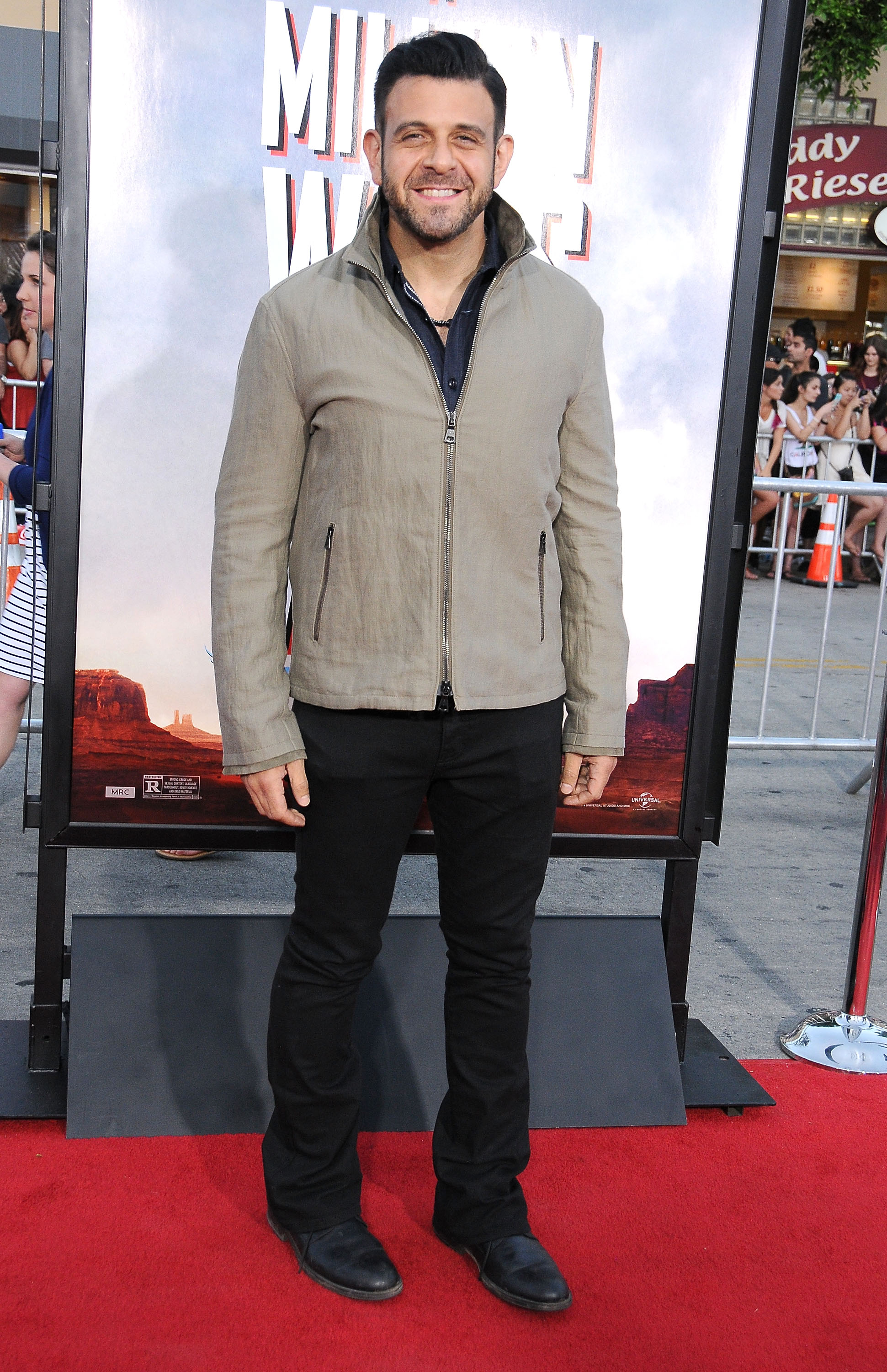 TV personality Adam Richman arrives at the Los Angeles Premiere 'A Million Ways To Die In The West' on May 15, 2014 at Regency Village Theatre in Westwood, California.  (Photo by Barry King/FilmMagic)
