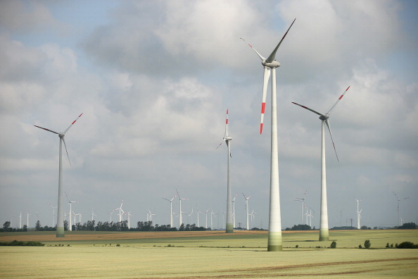 Wind turbines stand on June 17, 2014 near Wernitz, Germany.