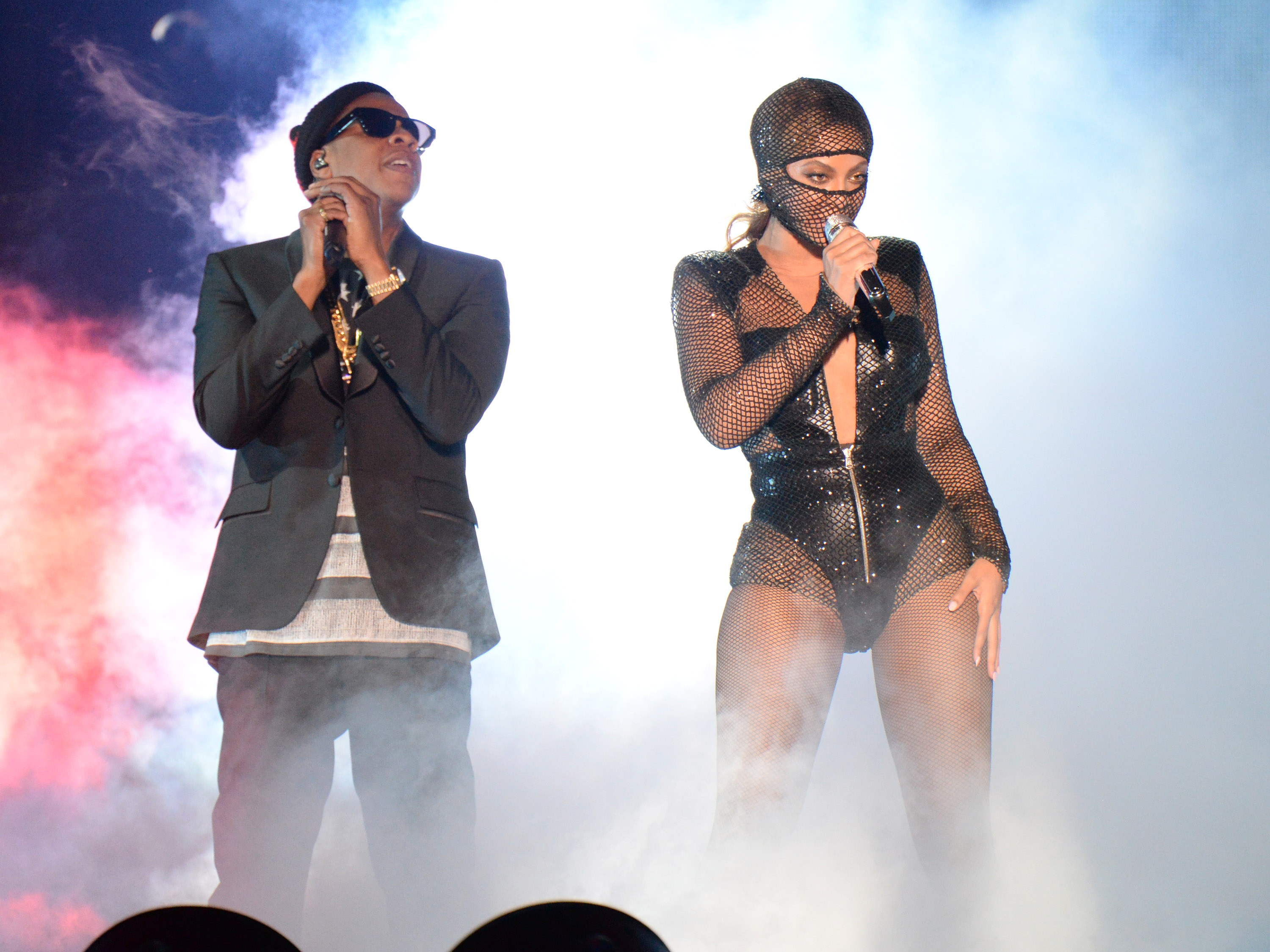 Jay Z and Beyonce perform during opening night of the  On The Run Tour: Beyonce And Jay-Z  at Sun Life Stadium on June 25, 2014 in Miami Gardens, Florida.