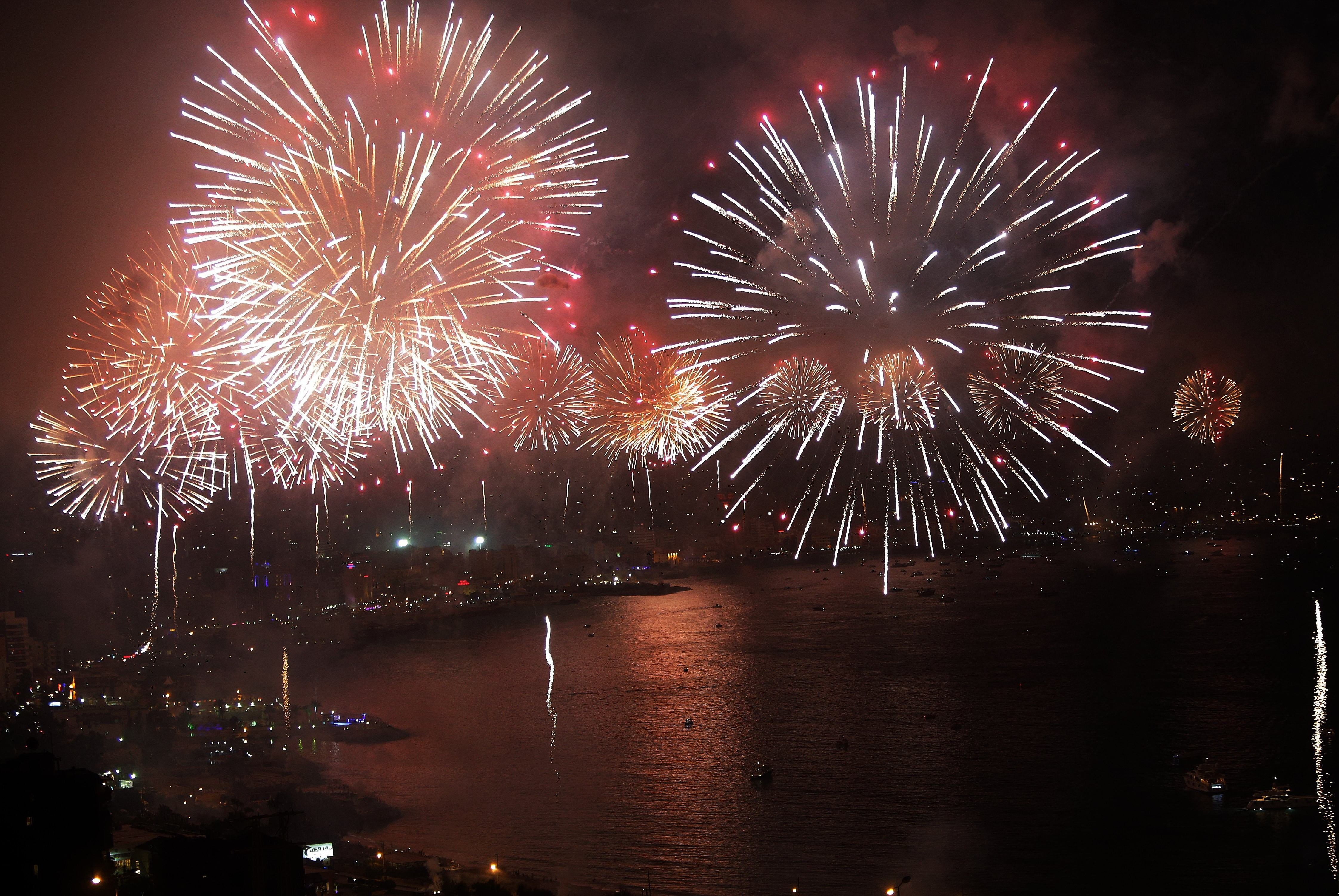 Fireworks light the skies of Lebanon's Jounieh Bey, during the opening ceremony of Jounieh International Festival on June 27, 2014.