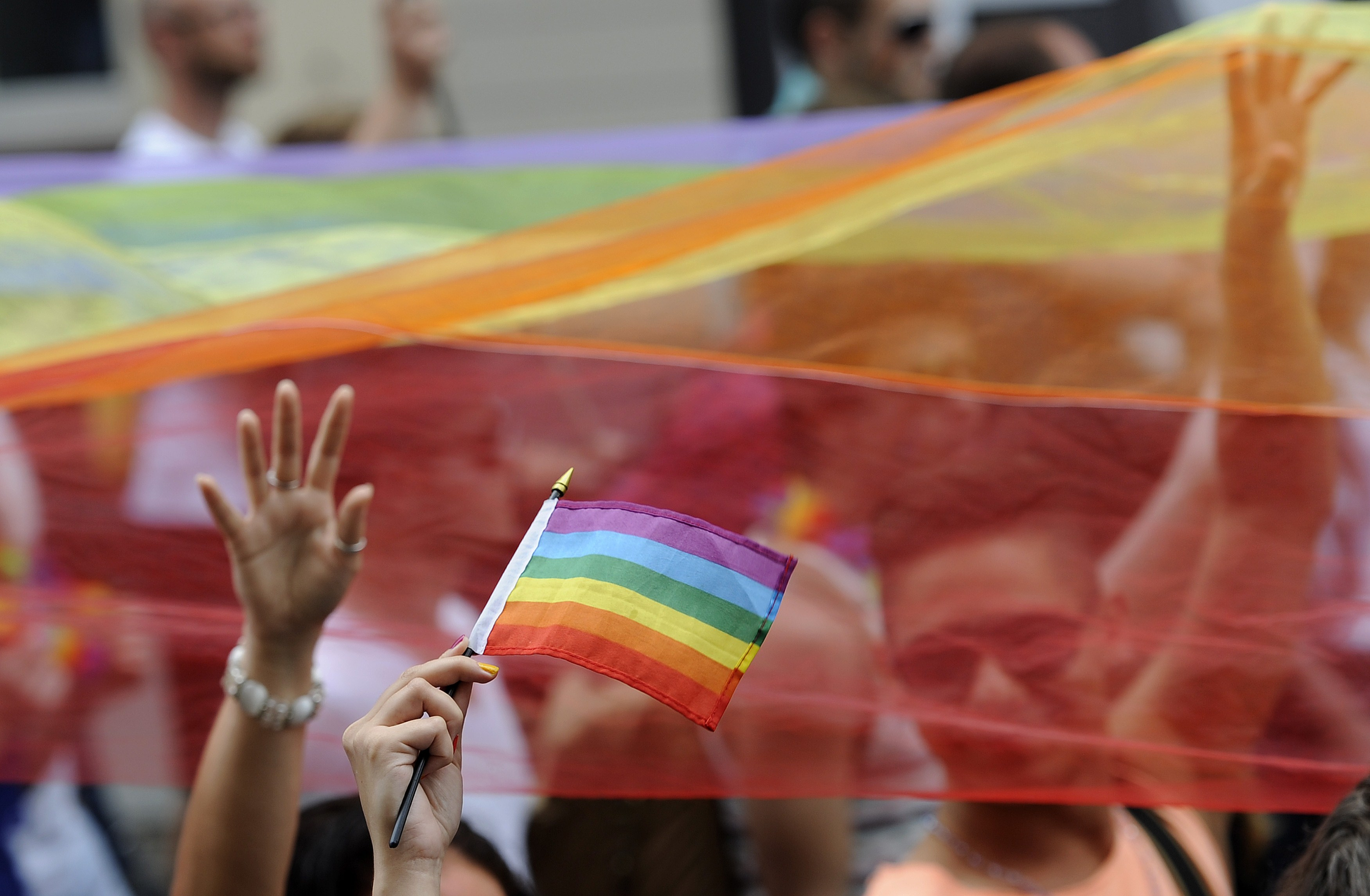 People demonstrate with rainbow flags during the lesbian, gay, bisexual and transgender (LGBT) Rainbow Pride Parade in Bratislava, Slovakia on June 28, 2014.