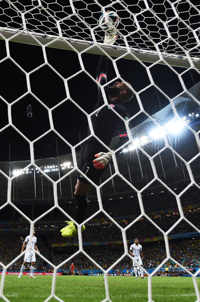 Jul. 1, 2014. Tim Howard of the United States makes a save during the 2014 FIFA World Cup Brazil Round of 16 match between Belgium and the United States at Arena Fonte Nova in Salvador, Brazil.