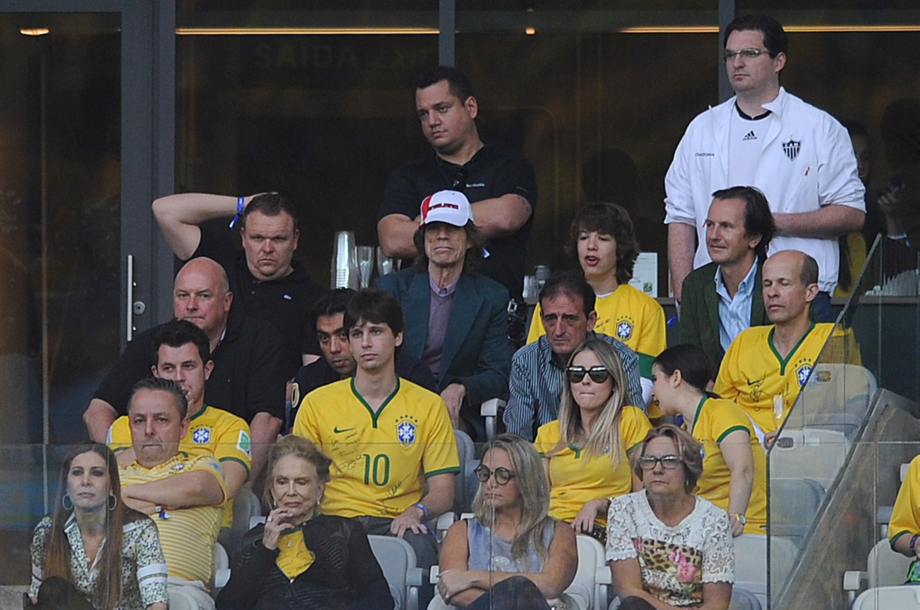 BELO HORIZONTE, BRAZIL - JULY 08: Mick Jagger looks on during the 2014 FIFA World Cup Brazil Semi Final match between Brazil and Germany at Estadio Mineirao on July 08, 2014 in Belo Horizonte, Brazil.  (Photo by Chris Brunskill Ltd/Getty Images)