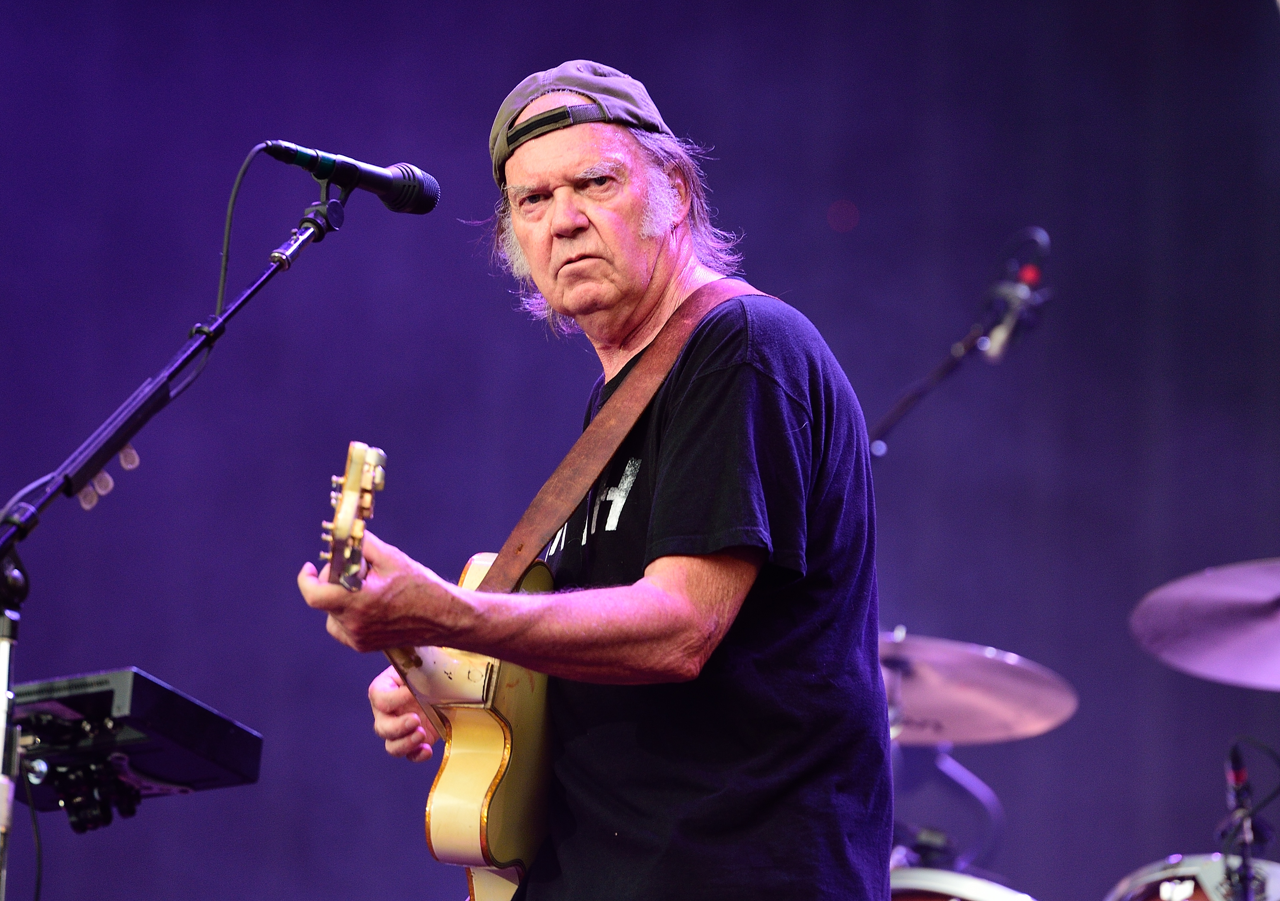 Neil Young of Neil Young and Crazy Horse performs on stage at British Summer Time Festival at Hyde Park on July 12, 2014 in London, United Kingdom.