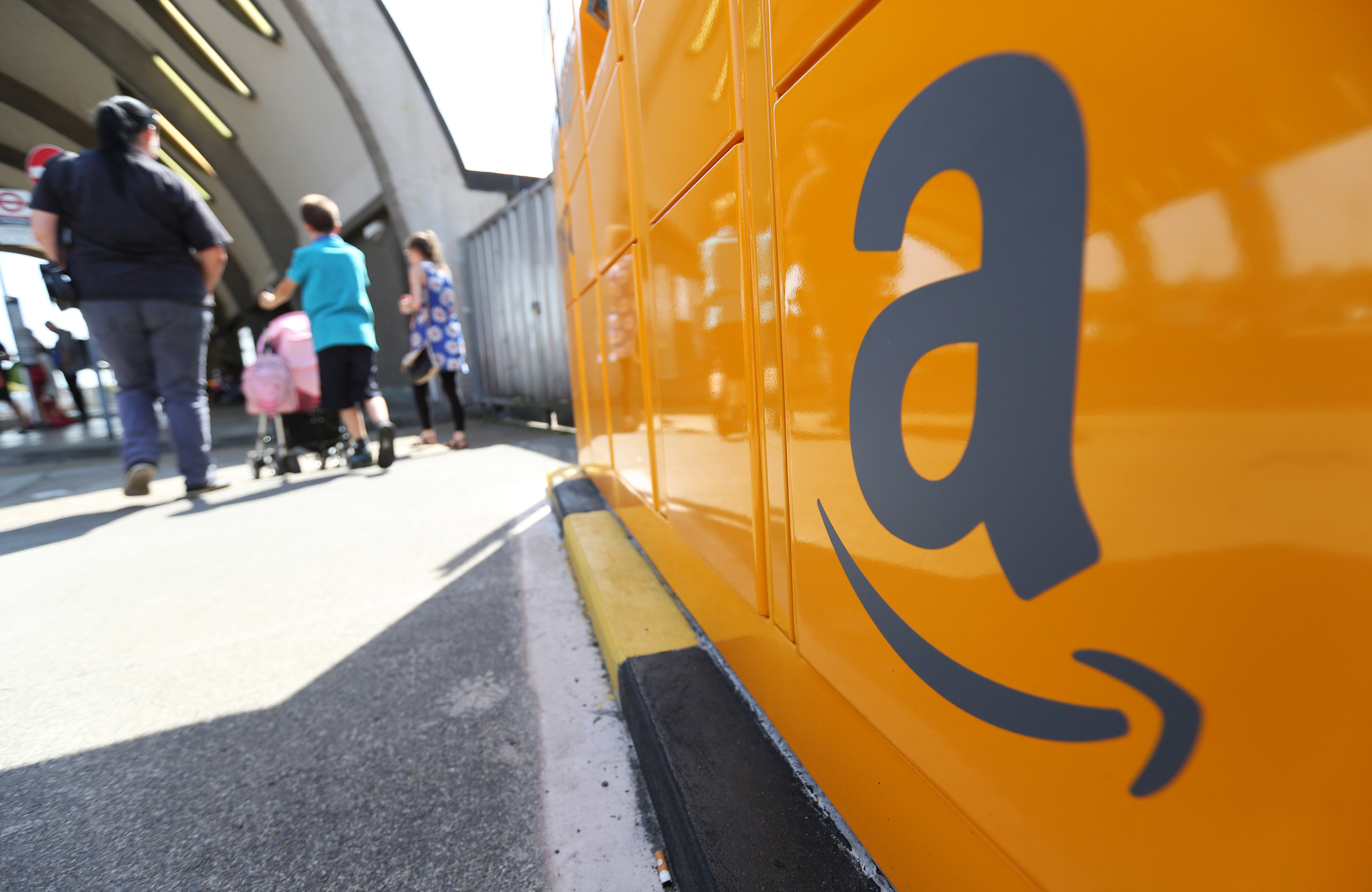 An Amazon.com Inc. pickup and collect locker at Newbury Park railway station in Newbury Park, U.K., on Wednesday, July 23, 2014.