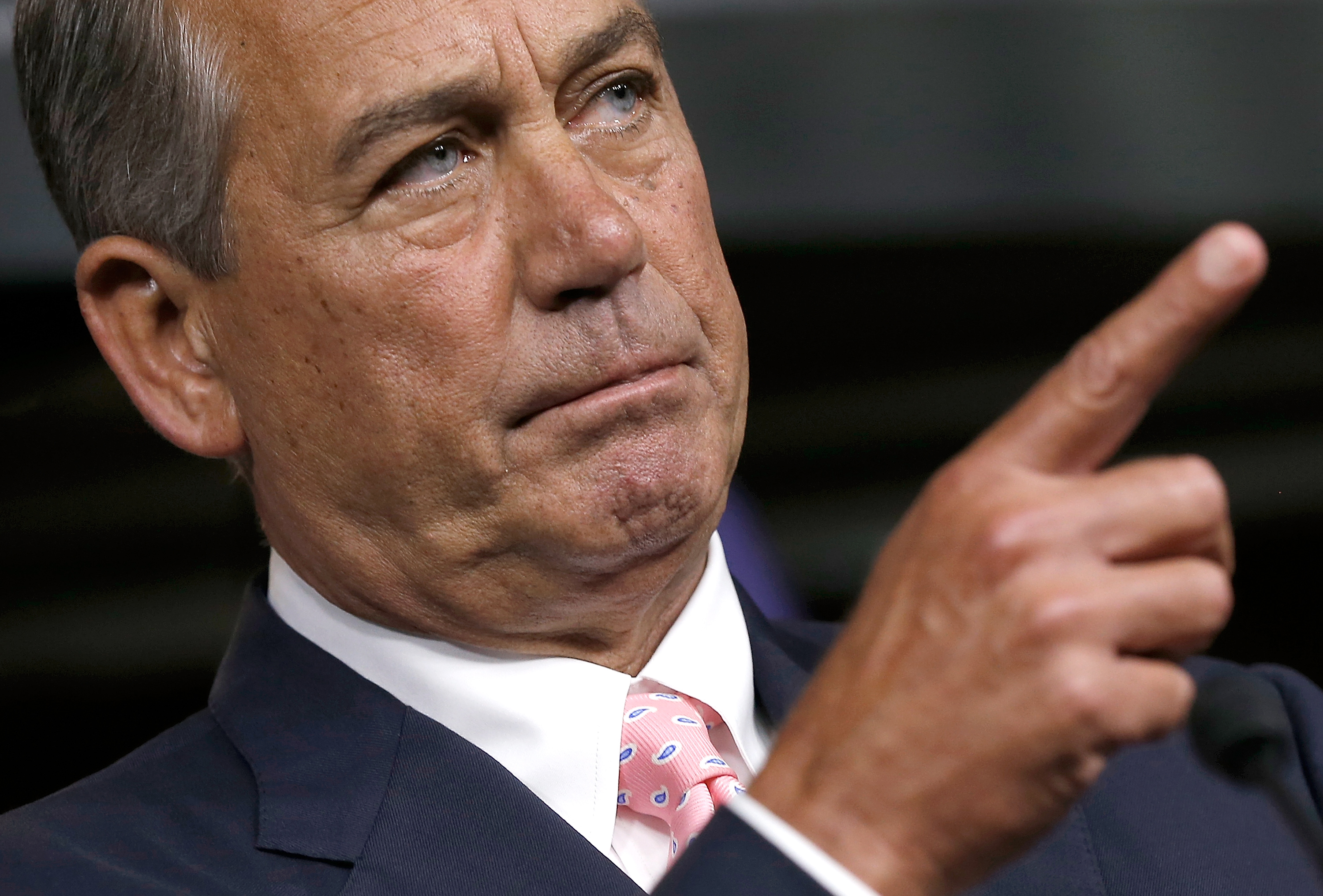 U.S. Speaker of the House John Boehner (R-OH) answers questions during a press conference at the U.S. Capitol July 24, 2014 in Washington, D.C.