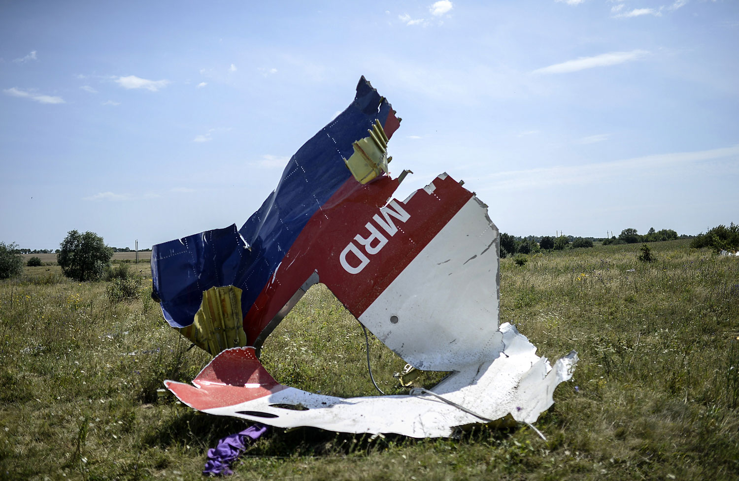 A piece of debris of the fuselage at the crash site of the Malaysia Airlines Flight 17  near the village of Grabovo, east of Donetsk, on July 25, 2014.