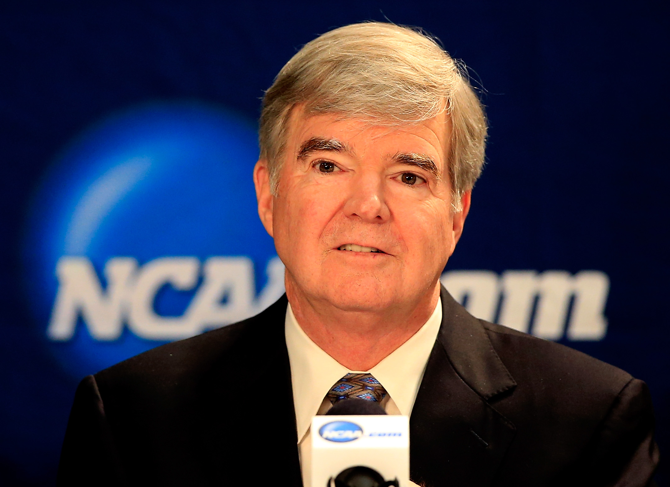 NCAA President Mark Emmert speaks to the media during a press conference at AT&T Stadium on April 6, 2014 in Arlington, Texas.