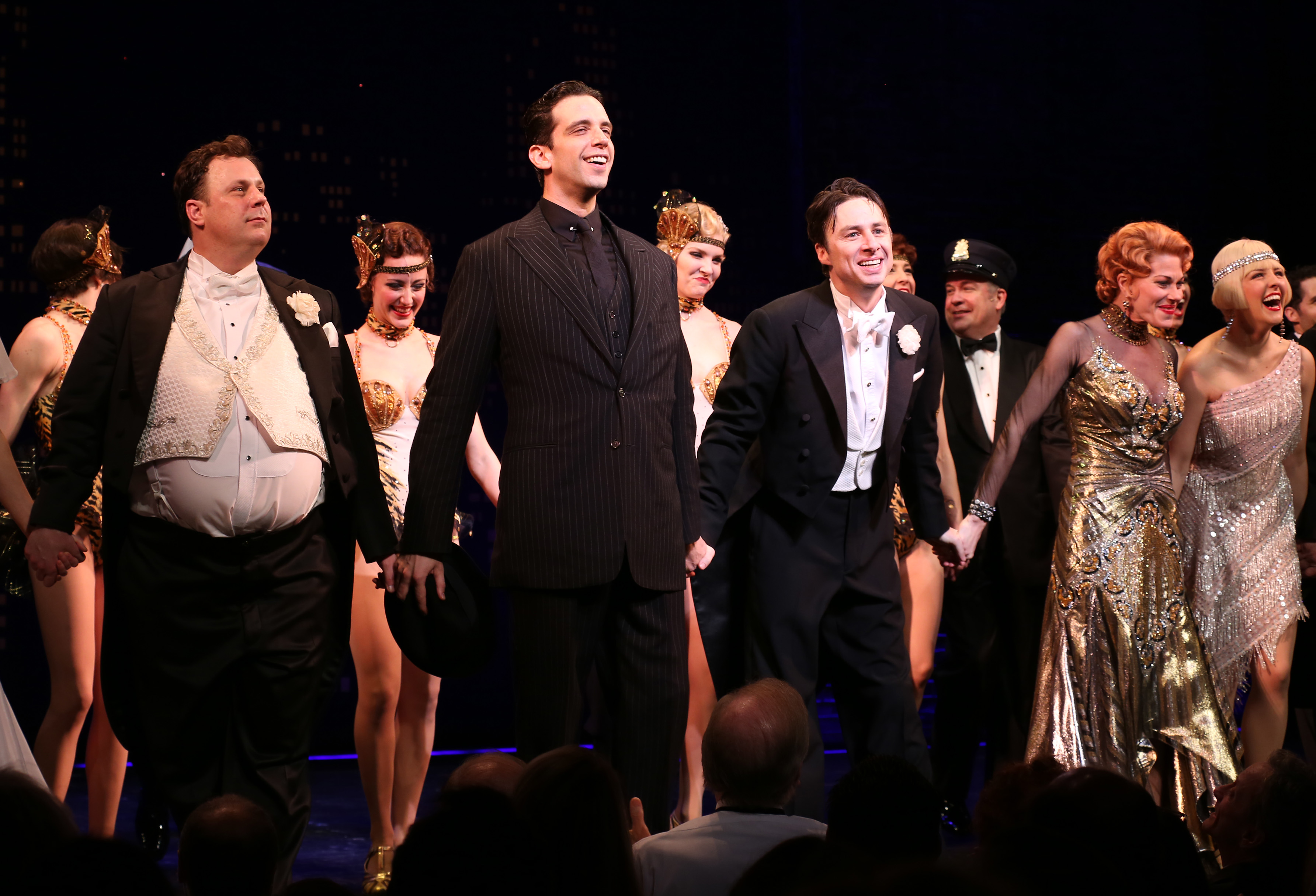 Brooks Ashmanskas, Nick Cordero, Zach Braff, Marin Mazzie and Helene Yorke during the Broadway opening night performance curtain call for ''Bullets Over Broadway  at the St. James Theatre on April 10, 2014 in New York City.