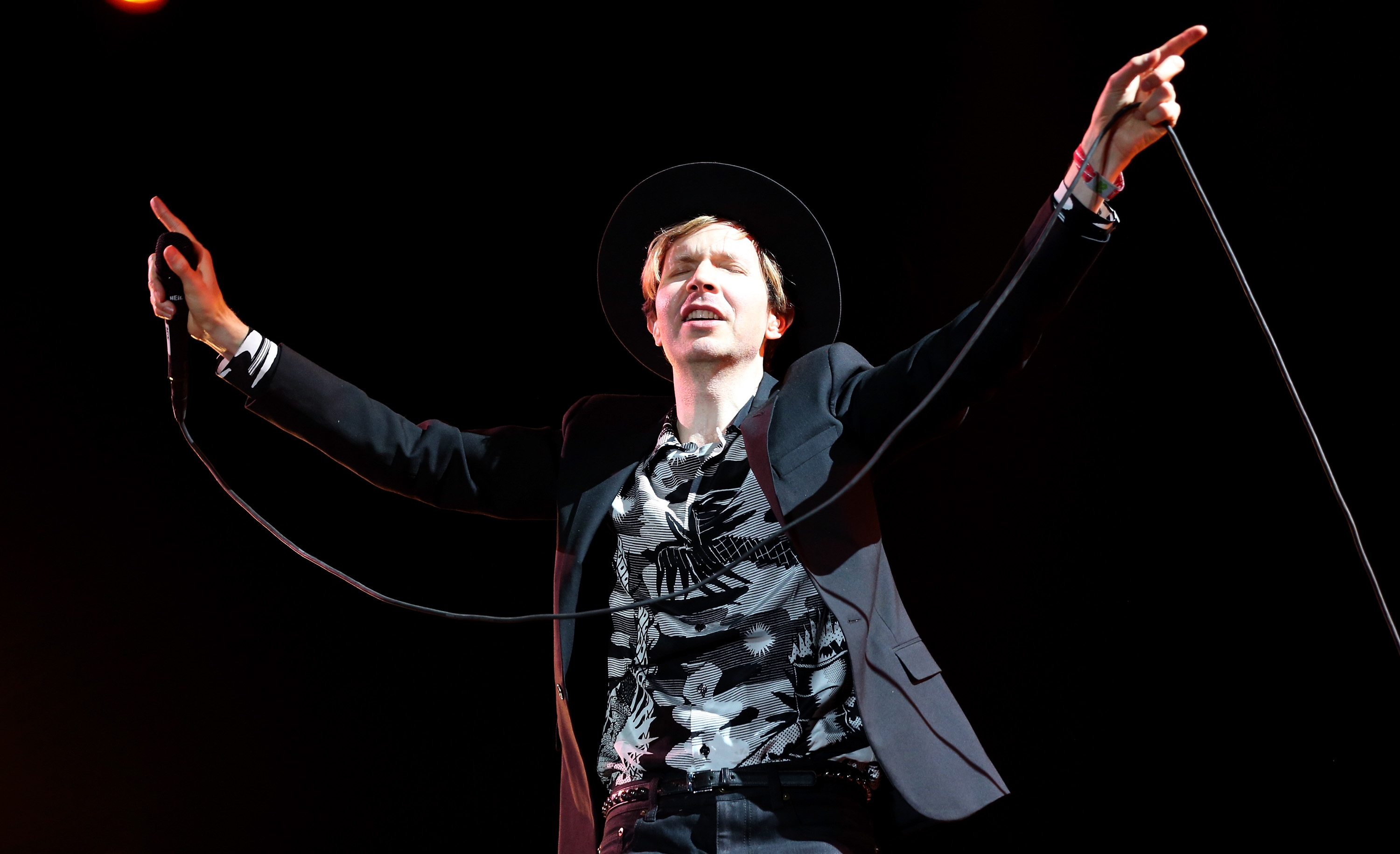Musician Beck performs onstage during day 3 of the 2014 Coachella Valley Music & Arts Festival at the Empire Polo Club on April 20, 2014 in Indio, California.