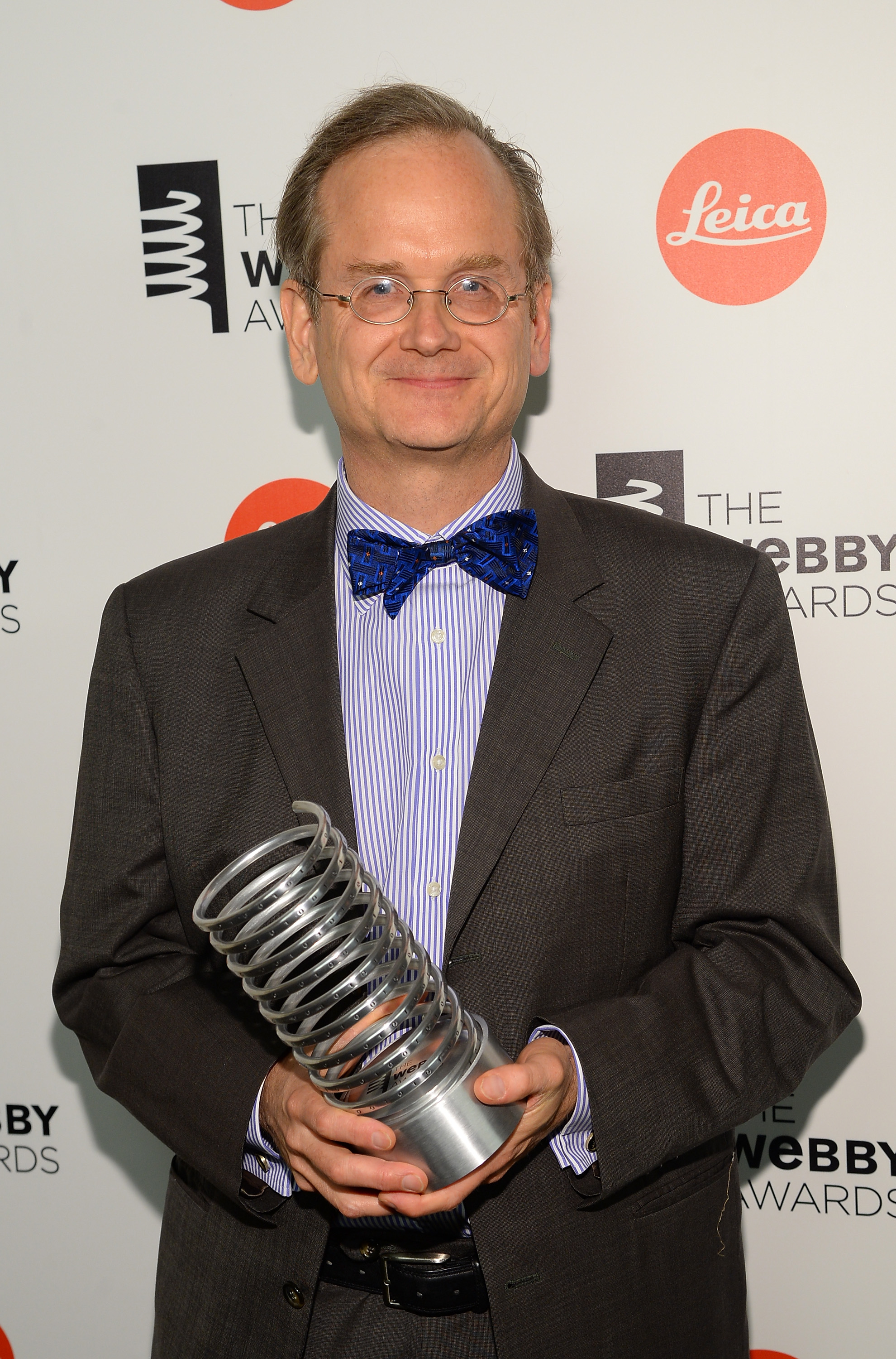 Professor Lawrence Lessig poses backstage at the 18th Annual Webby Awards on May 19, 2014 in New York City.