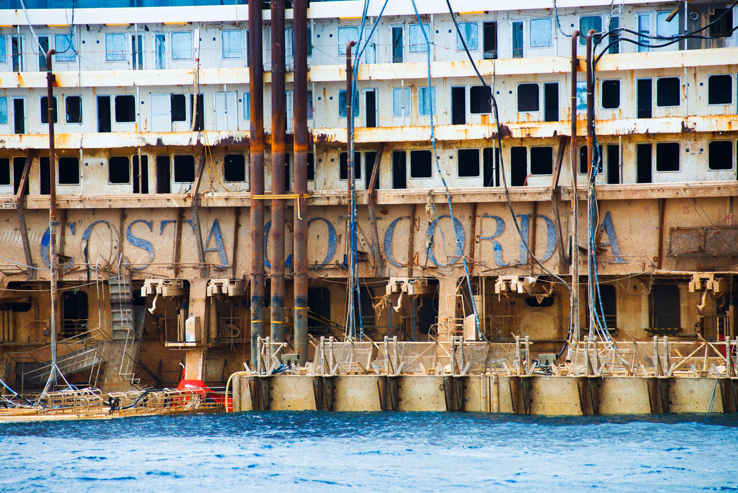 The side of the Costa Concordia on July 21, 2014 in Giglio Porto, Italy.