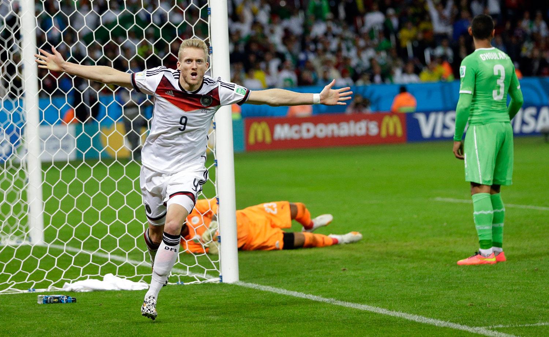 Germany vs. Algeria                                                              Germany's Andre Schuerrle celebrates after scoring the opening goal at the Estadio Beira-Rio in Porto Alegre, Brazil on June 30, 2014.