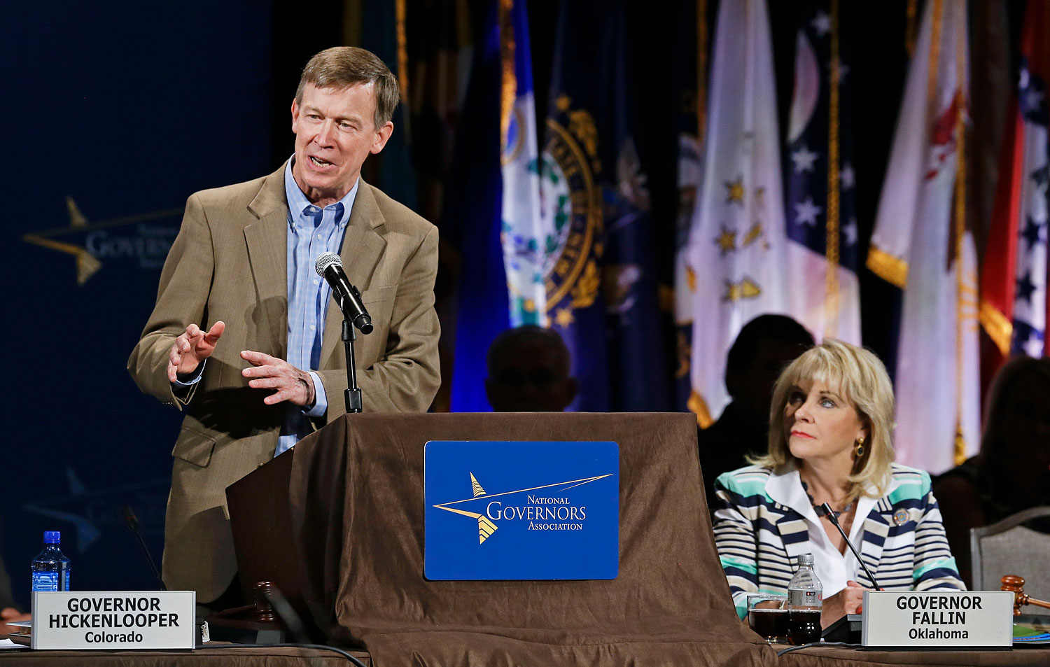 Colorado Gov. John Hickenlooper speaks during the closing session of the National Governors Association convention, July 13, 2014, in Nashville.