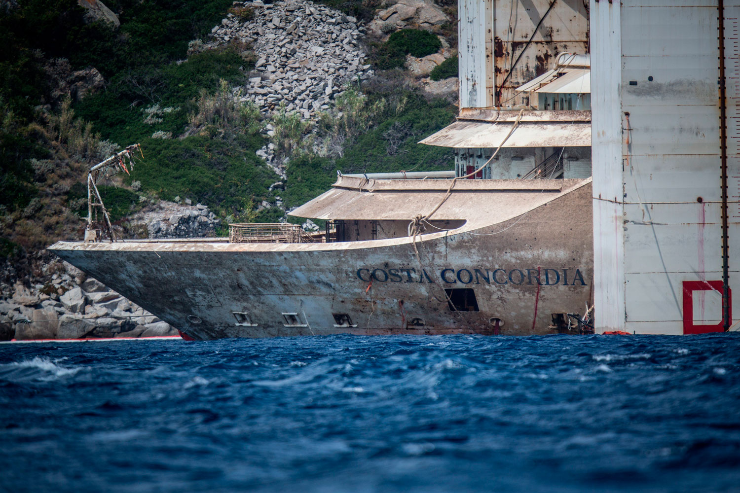 Costa Concordia re-float operation close to the end  on February 27, 2014 in Giglio Porto, Italy. The floatation and and salvage costs will exceed $2 billion.