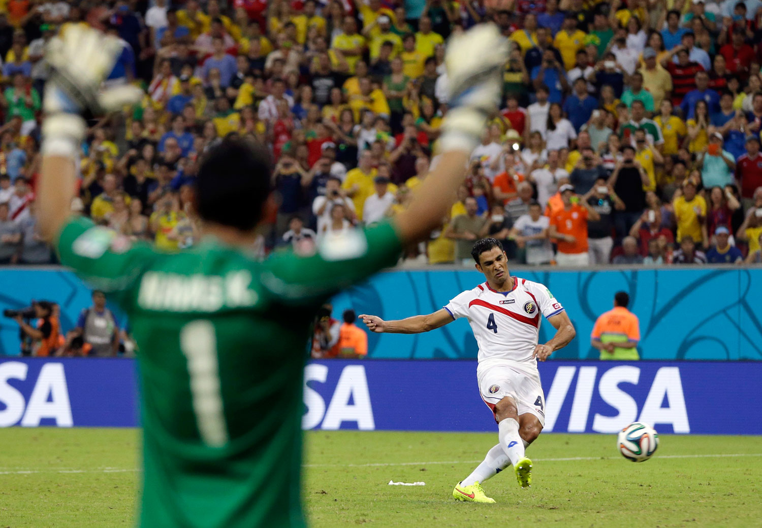 Costa Rica vs. Greece 1-1 (5-4 shootout)                                                              Costa Rica's goalkeeper Keylor Navas reacts as Michael Umana takes the winning kick in a penalty shootout at the Arena Pernambuco in Recife, Brazil on June 29, 2014.
