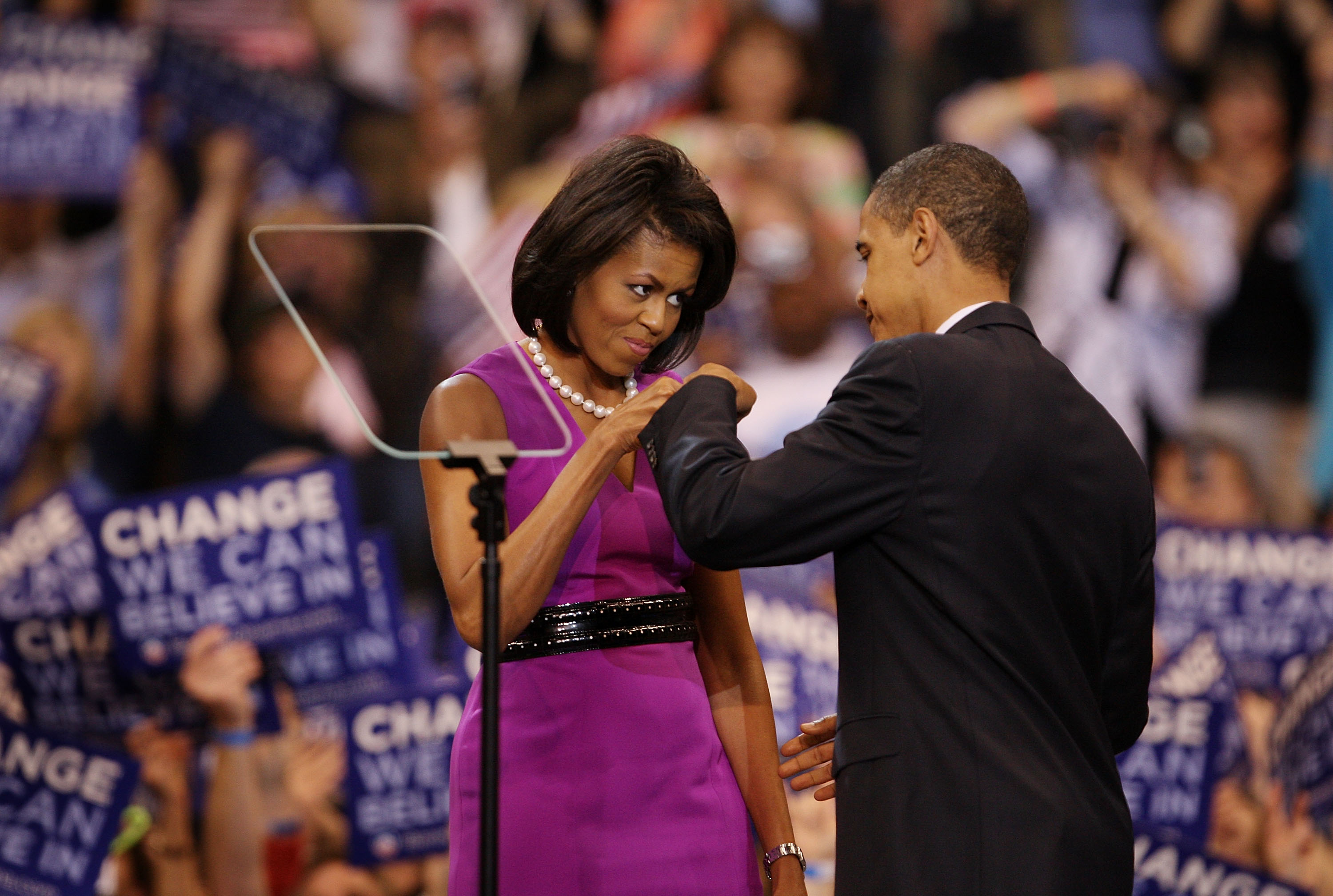 From right: U.S. President Barack Obama and First Lady Michelle Obama bump fists at an election night rally at the Xcel Energy Center on June 3, 2008 in St. Paul, Minn. during his first presidential campaign.