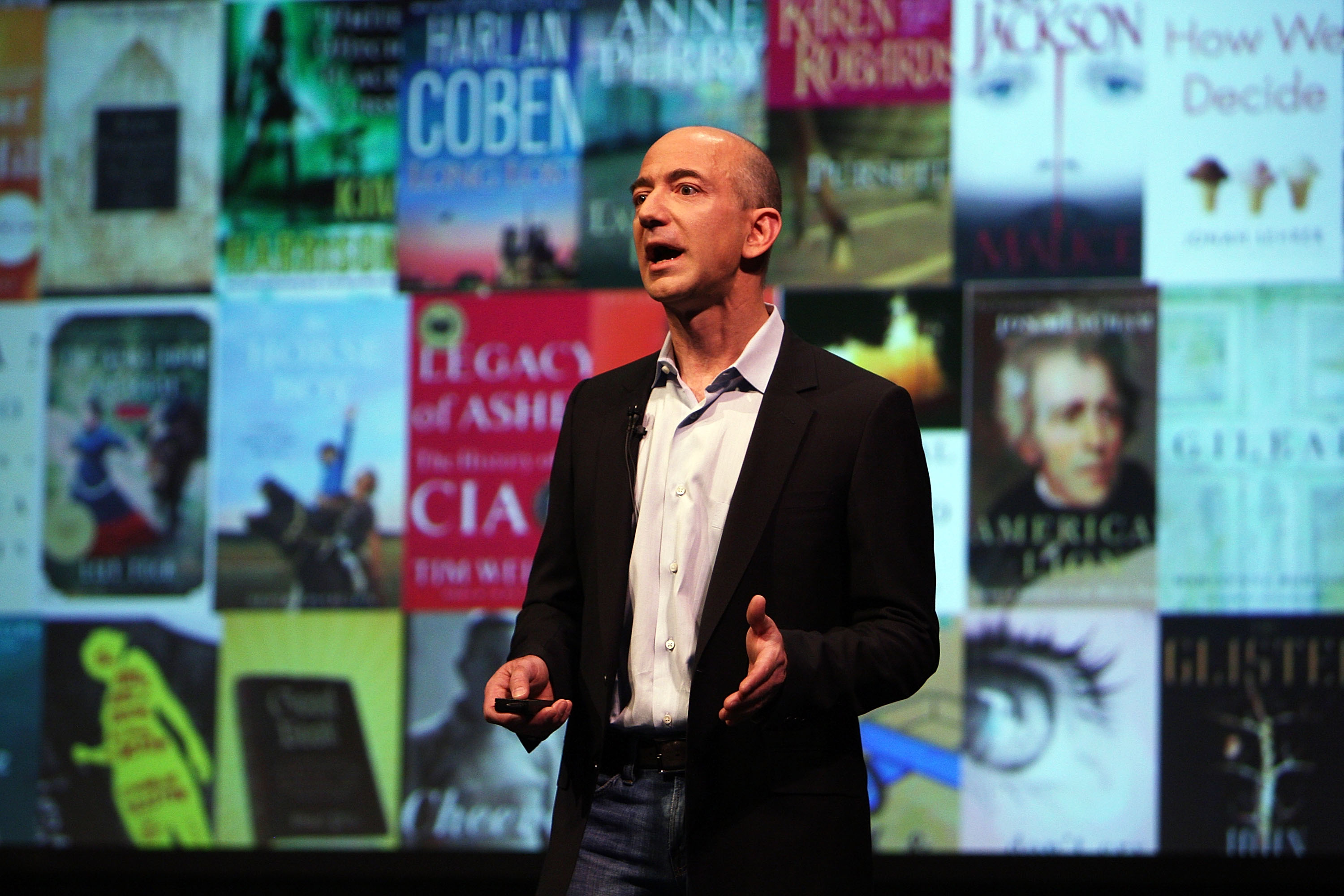 Amazon CEO Jeff Bezos speaks about the new Kindle DX at a press conference at Pace University May 6, 2009 in New York City.