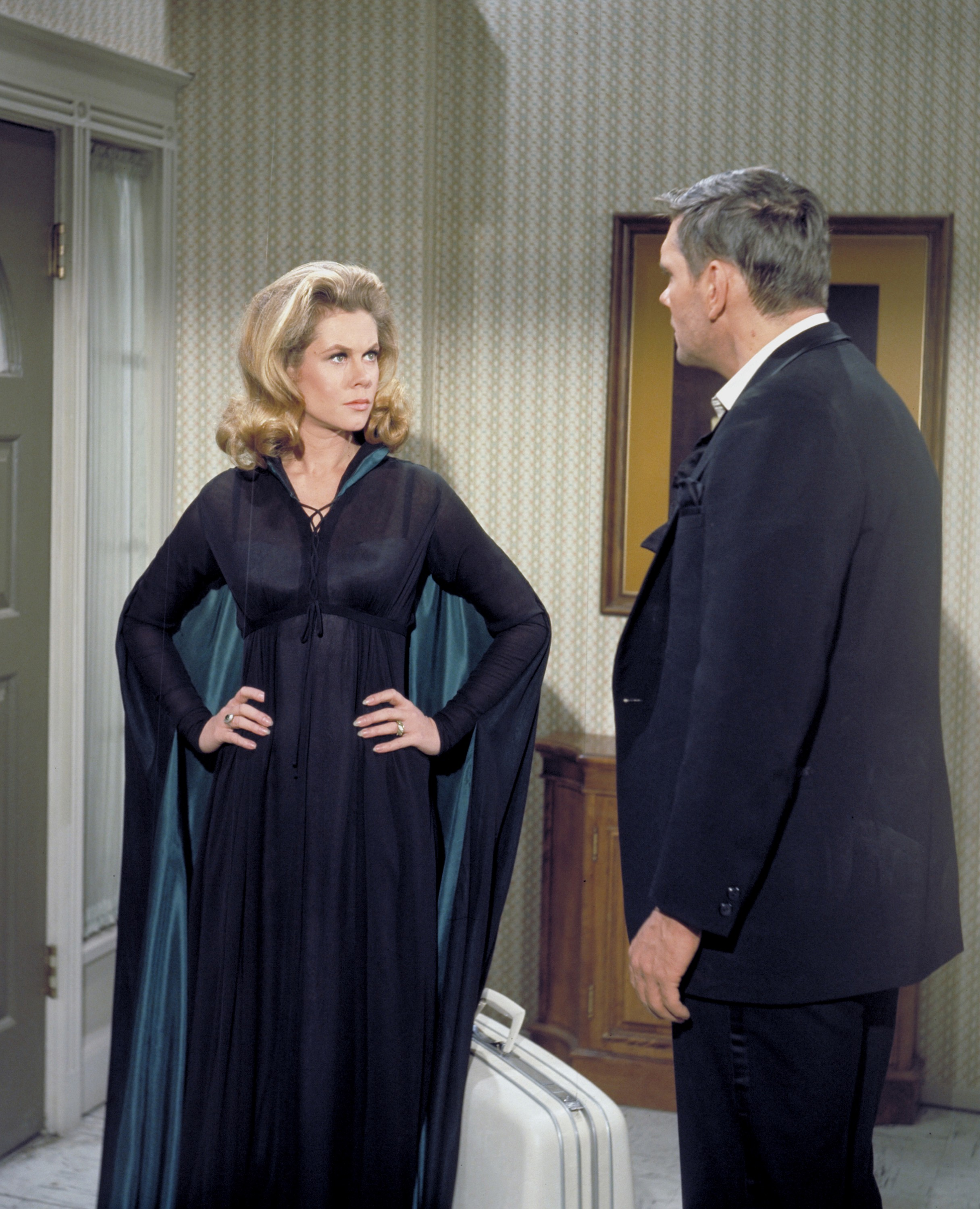 Samantha (Elizabeth Montgomery) and Endora returned to the 14th century to remove a curse placed on Darrin's (Dick York) ancestors.