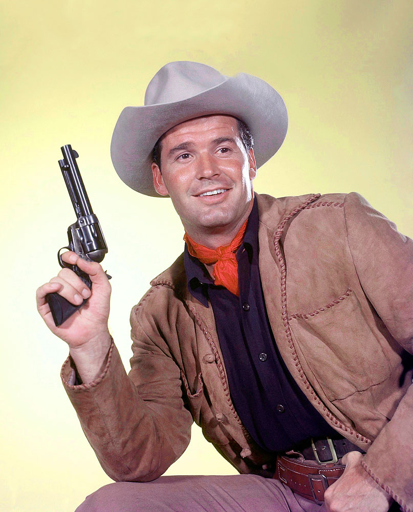 Gardner, in his breakout role as Bret Maverick in the comedy Western series Maverick, 1959.