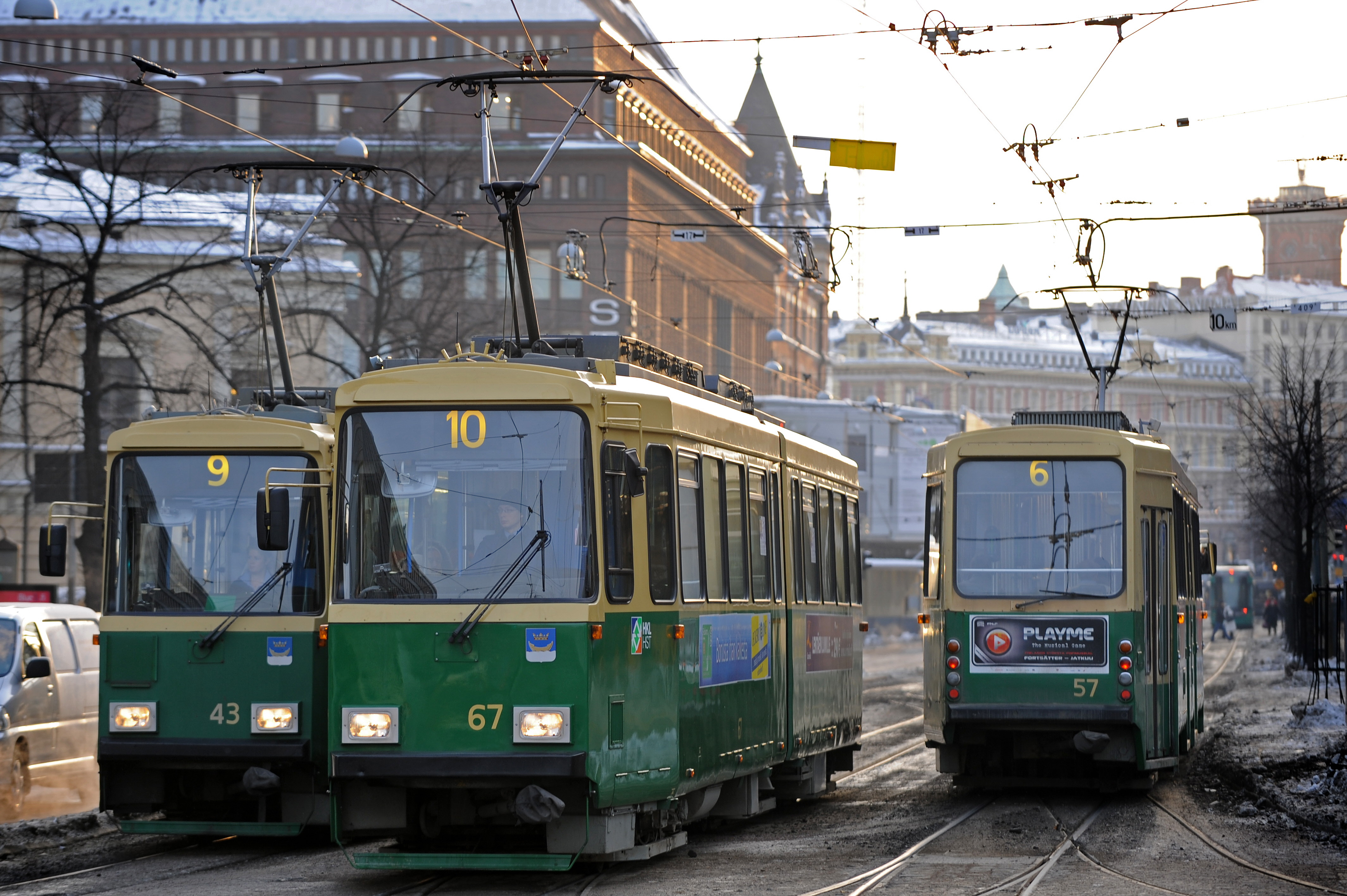 HKL company's trams from line 9, 10 and 6 pass on the main street Mannerheimintie on Jan. 20, 2010, in Helsinki's city center.