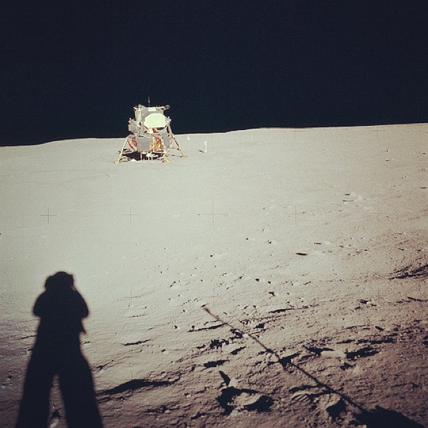 Aug. 12, 2012. Farewell, Neil Armstrong (1930 - 2012). Apollo 11 Mission image - View of the Lunar Module at Tranquility Base. Image taken by Astronaut Neil A. Armstrong during the Apollo 11 Mission. Armstrongs shadow is visible in foreground.