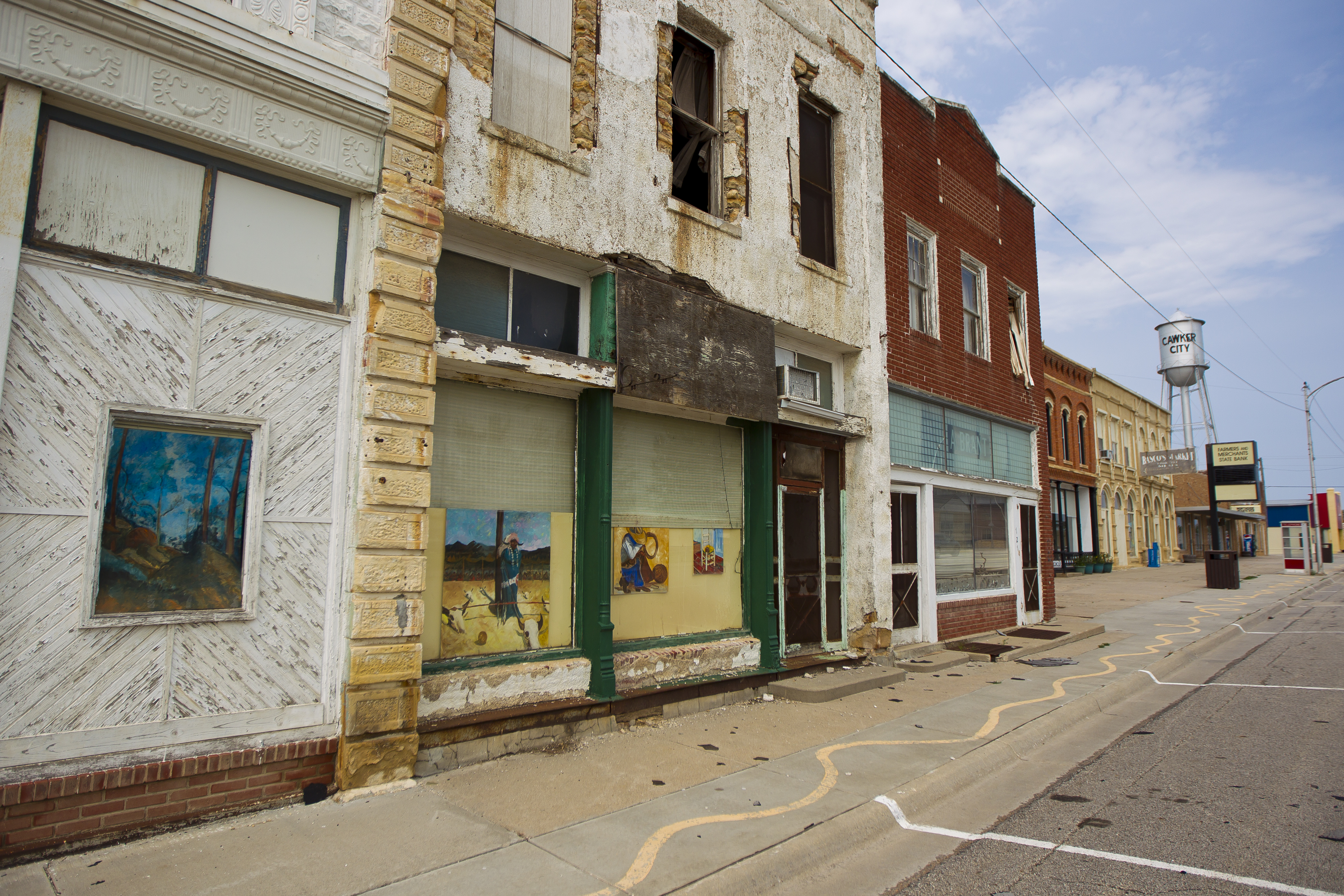 Empty buildings and streets in downtown Cawker City, Kansas.