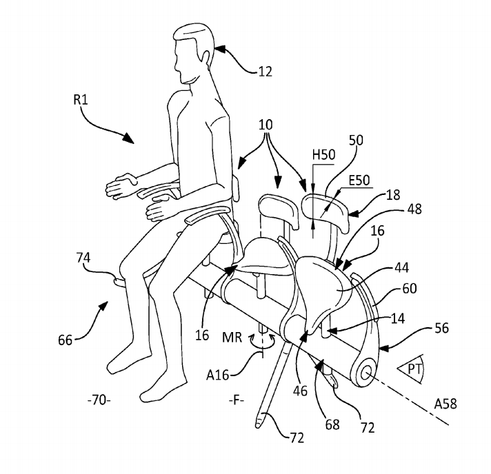 A diagram for a new seating device from Airbus' patent application.