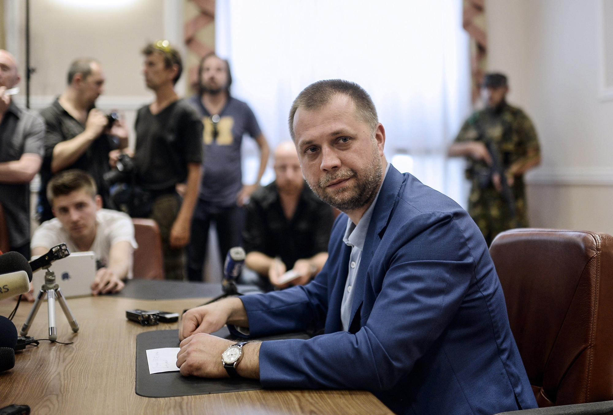 Self-proclaimed Prime Minister of the pro-Russian separatist  Donetsk People's Republic  Alexander Borodai gives a press conference in Donetsk, July 19, 2014.