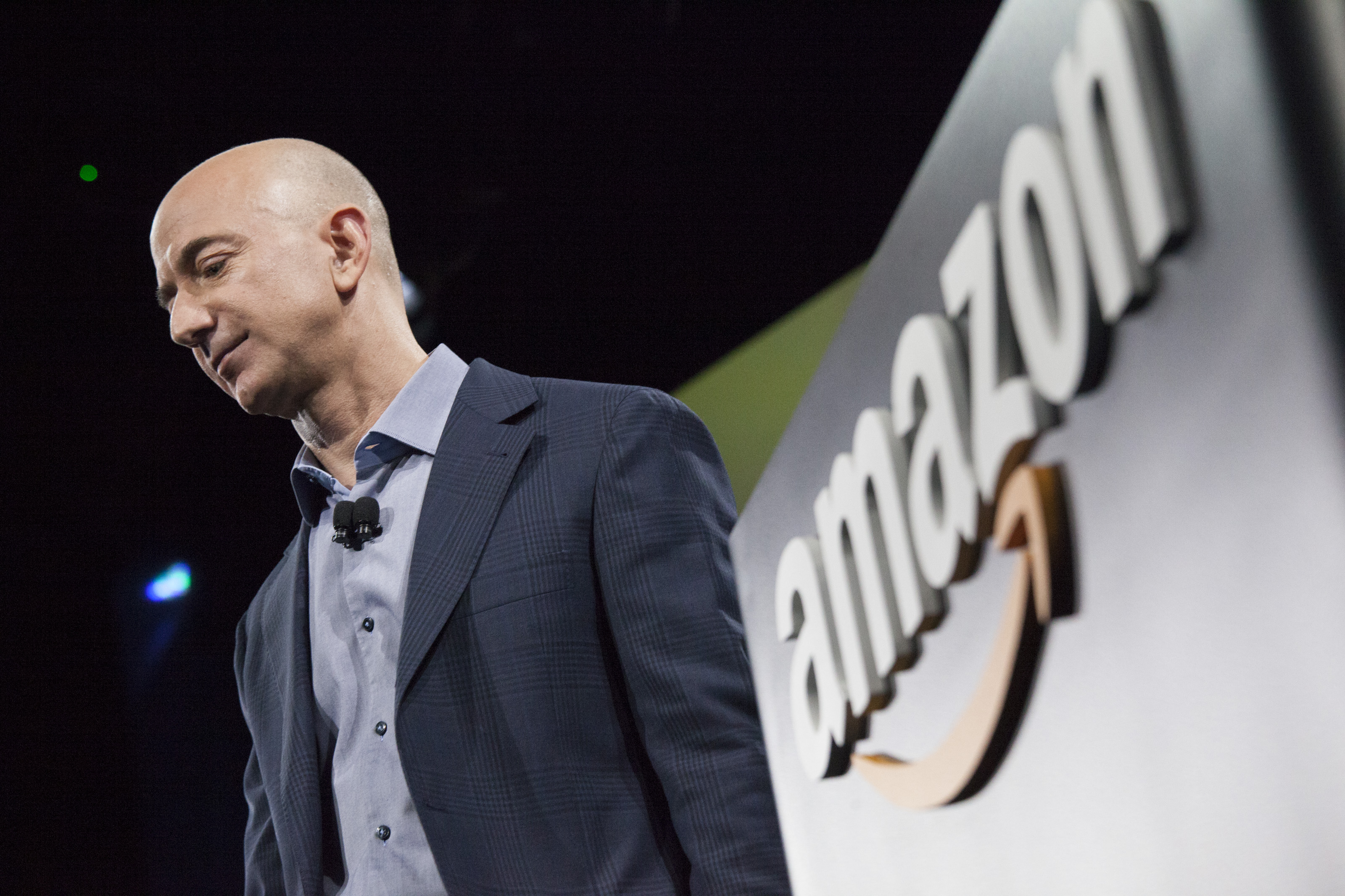 Amazon CEO Jeff Bezos presents the company's first smartphone, the Fire Phone, on June 18, 2014 in Seattle, Washington.