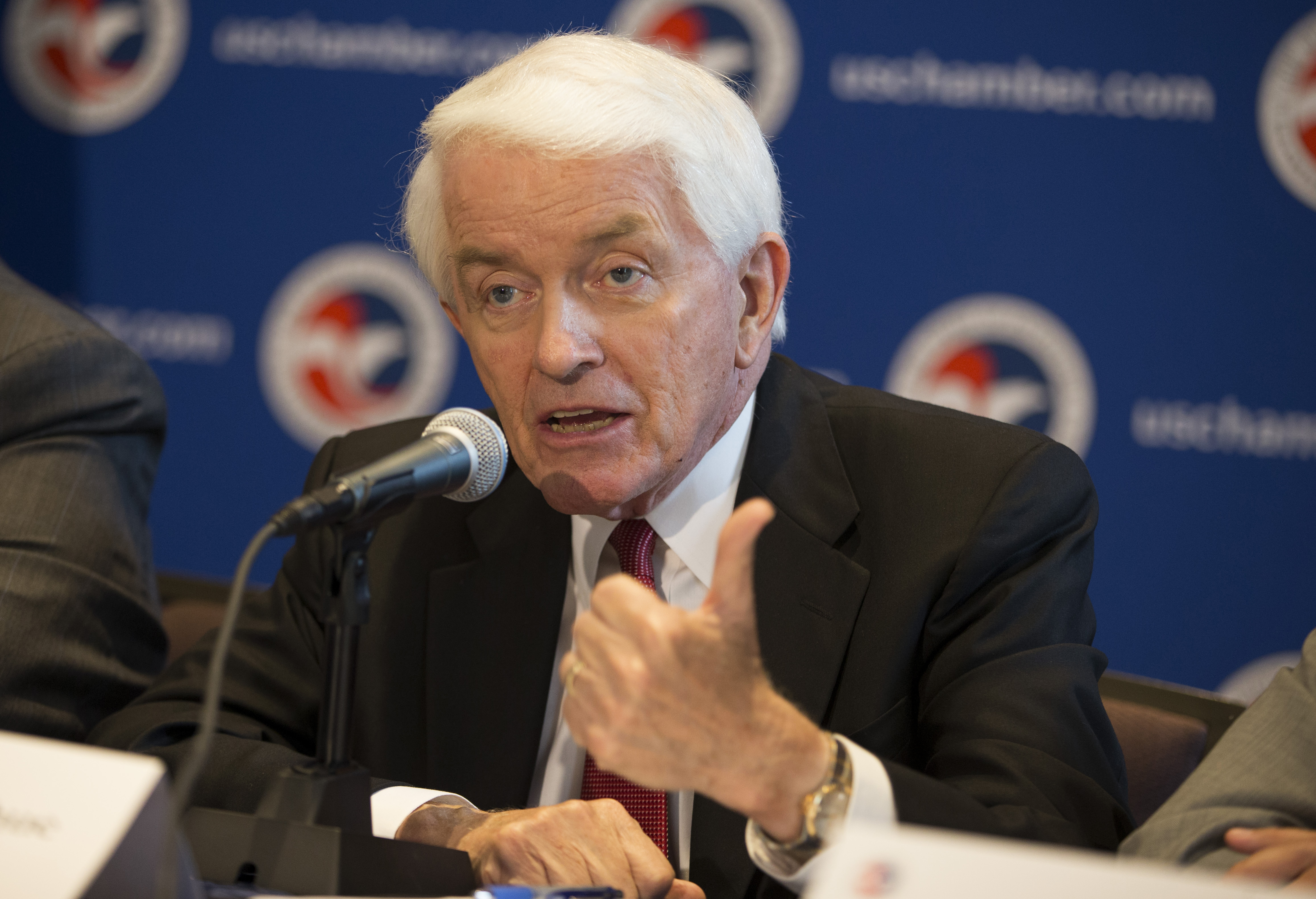 U.S. Chamber of Commerce President and CEO Tom Donohue speaks during a news conference at the U.S. Chamber of Commerce in Washington on July 9, 2014.