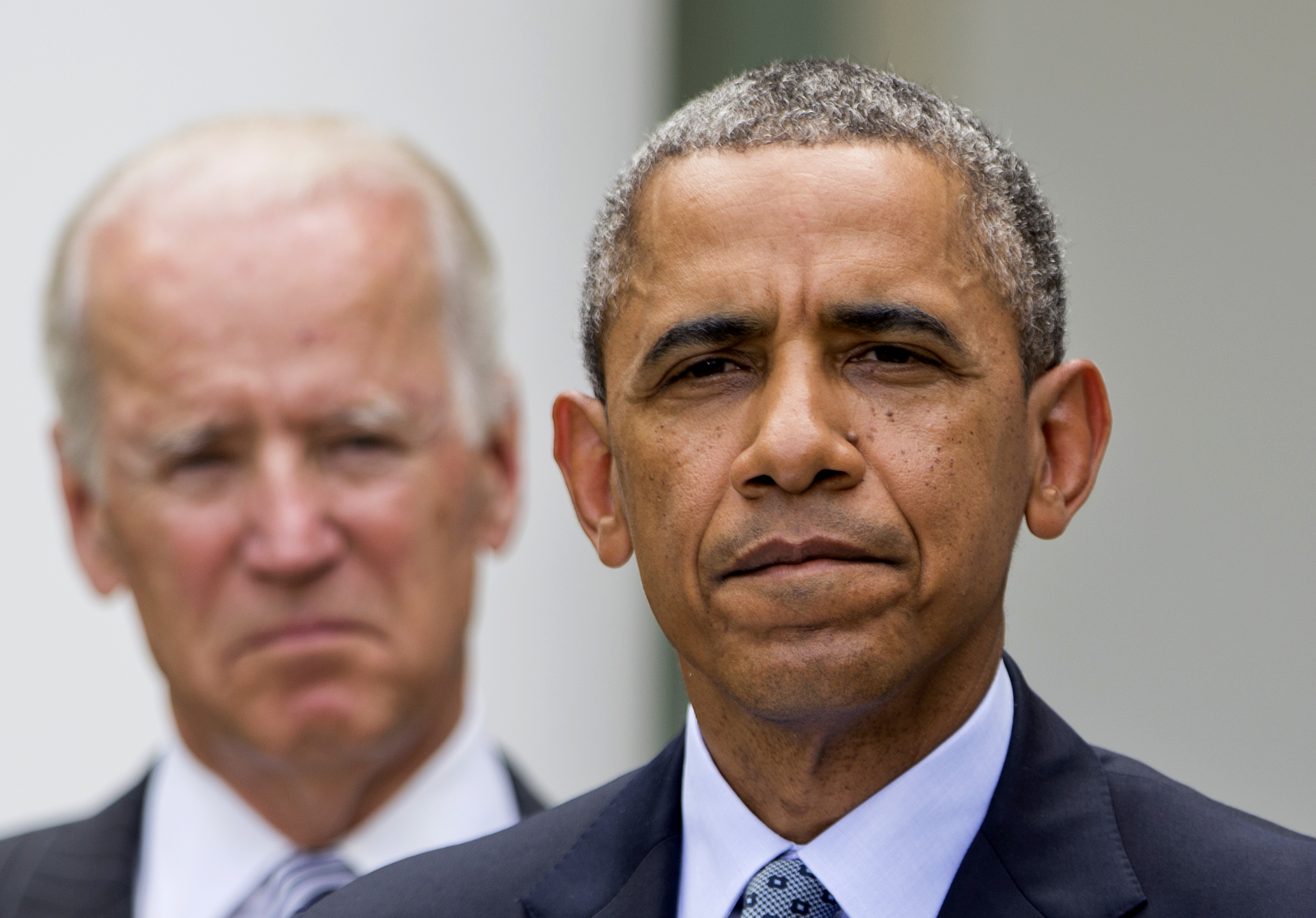 President Barack Obama, accompanied by Vice President Joe Biden, speaks about immigration reform on June 30, 2014, in the White House Rose Garden in Washington.