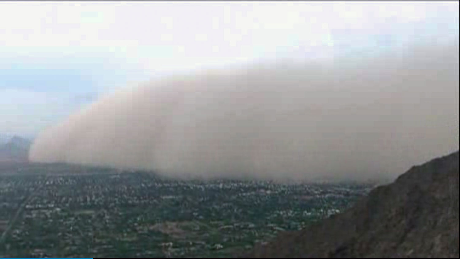 This image made from video provided by ABC15.com shows a massive dust storm over Phoenix Arizona Friday July 25, 2014. The storm covered the Phoenix metropolitan area causing poor visibility and tough driving conditions. (AP Photo/ABC15.com)