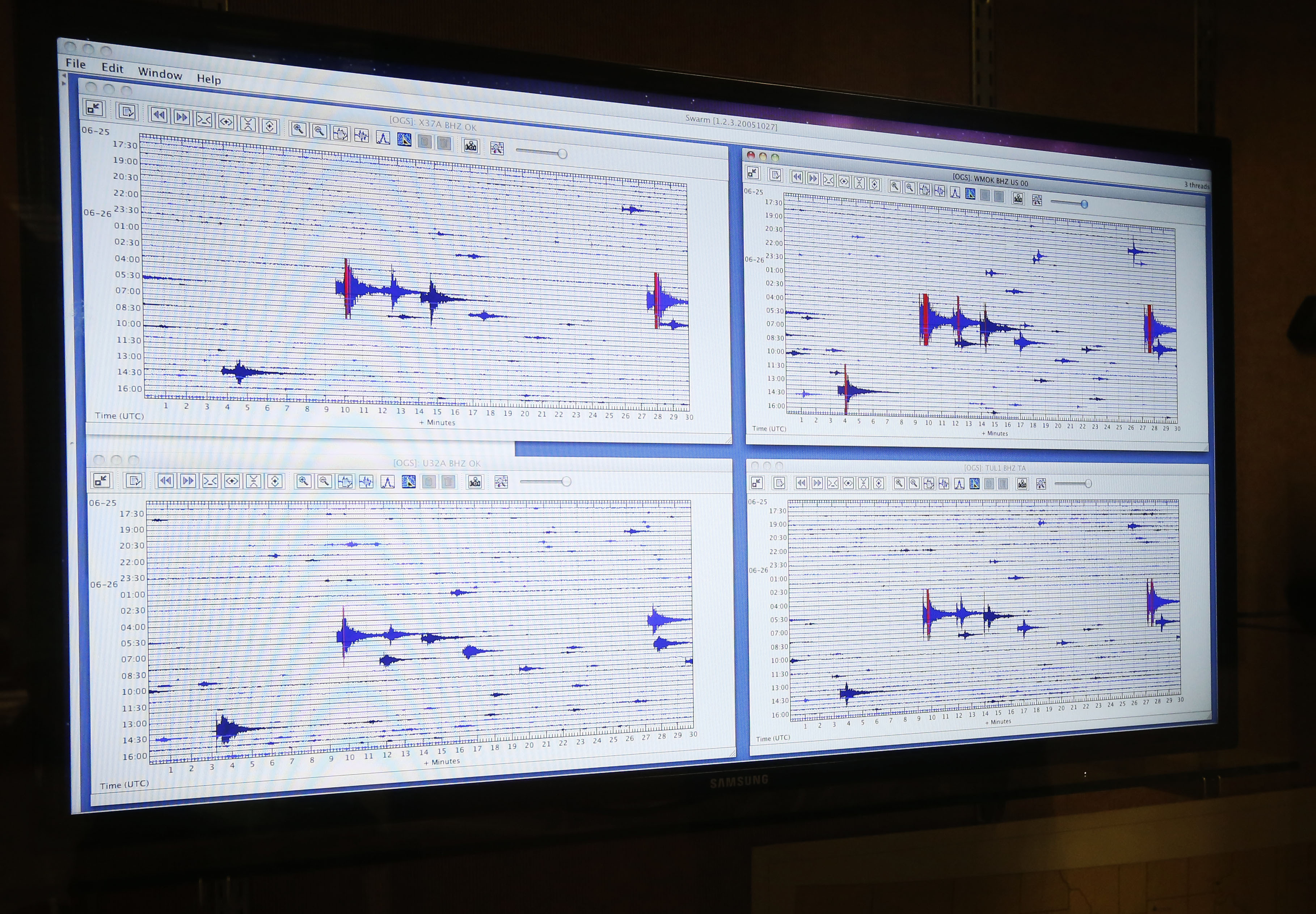 Computer screens displaying data of real-time monitoring of seismic activity throughout the state of Oklahoma are pictured at the Oklahoma Geological Survey at the University of Oklahoma in Norman, Okla., Thursday, June 26, 2014. Earthquakes that have shaken Oklahoma communities in recent months have damaged homes, alarmed residents and prompted lawmakers and regulators to investigate what's behind the temblors — and what can be done to stop them.