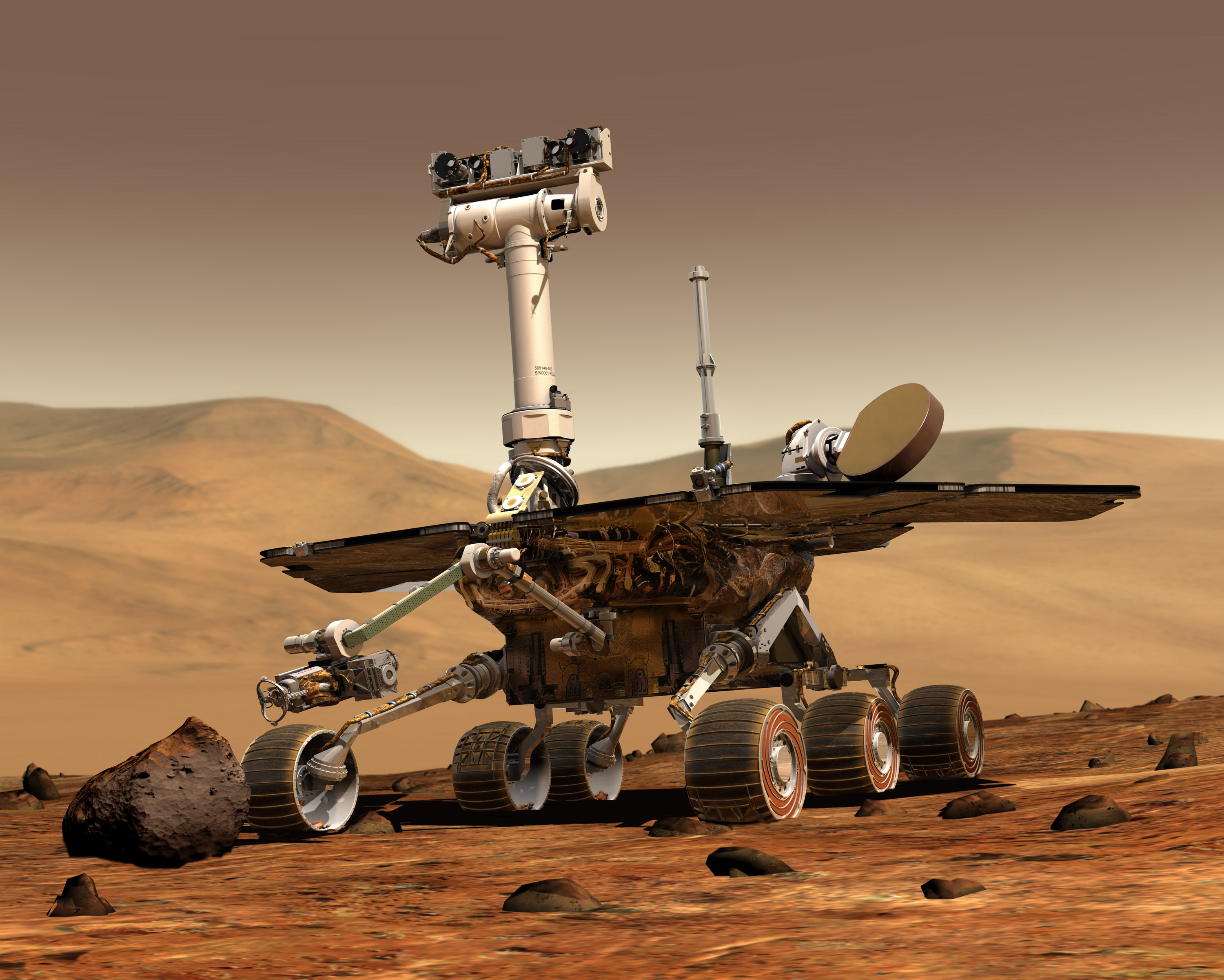 An artist's rendering of NASA's Opportunity Mars Rover