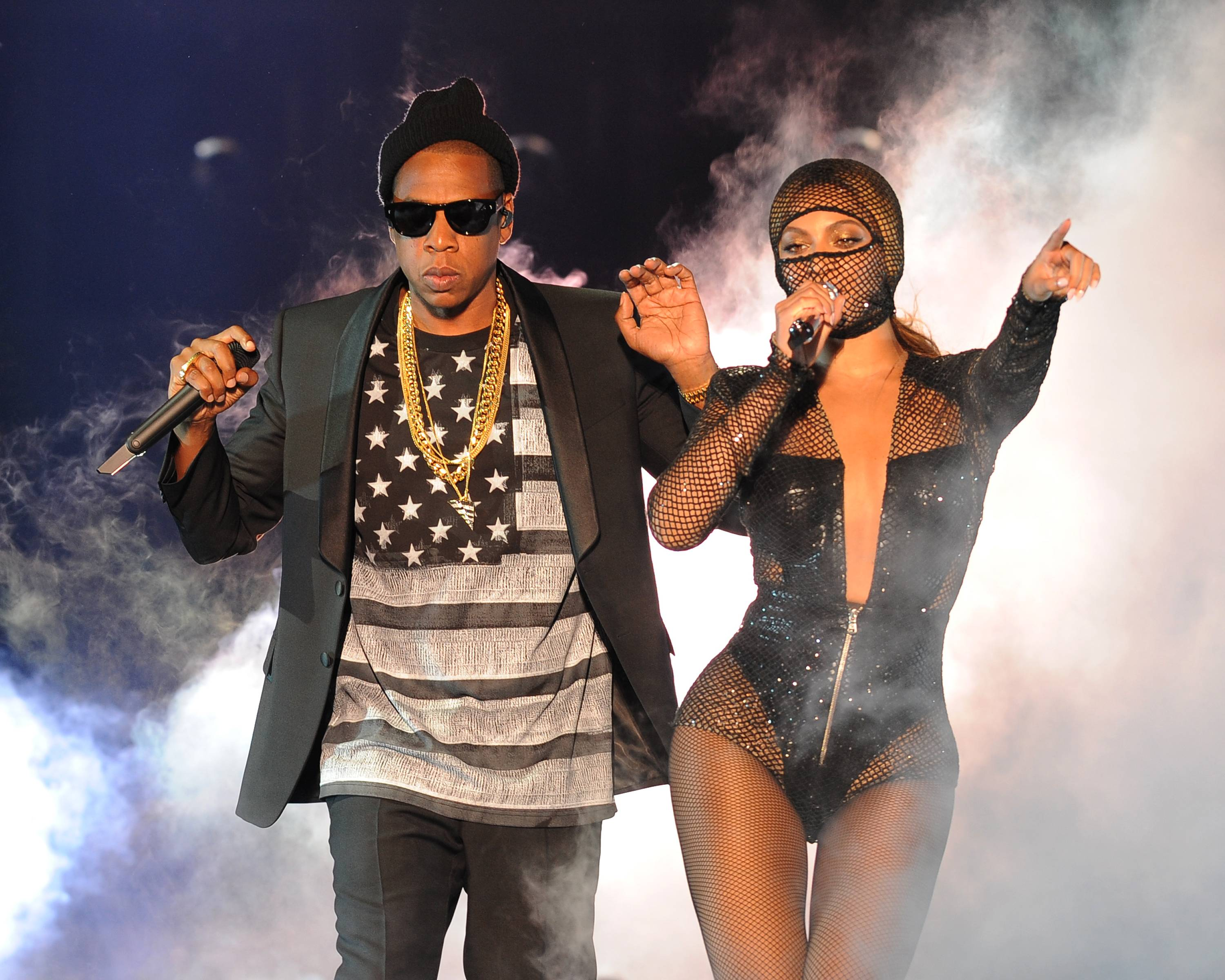 IMAGE DISTRIBUTED FOR PARKWOOD ENTERTAINMENT -Beyoncé and Jay Z at the opening night of their On the Run Tour.
