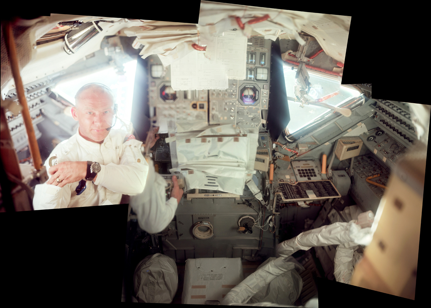 Buzz Aldrin during the initial inspection of the Lunar Module early in the mission. Buzz is wearing his intra-vehicular suit, designed to be as flame retardant as the rest of the ship, and made from the same fabric as the outer layer of the spacesuits.