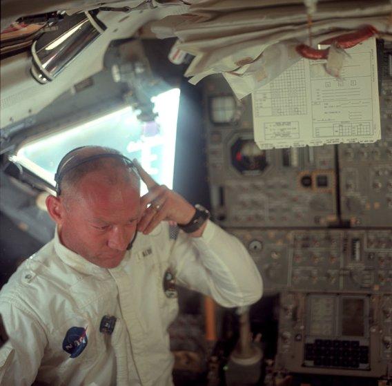 Buzz Aldrin in the Lunar Module