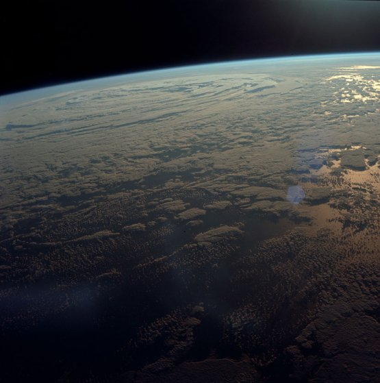 A view of Earth during the mission's brief parking orbit before heading off to the moon.