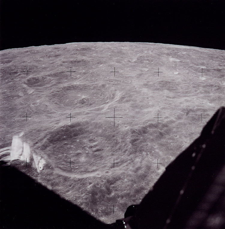 One of three images taken from the Lunar Module during spacecraft activation in lunar orbit. The pictures were taken to make sure the film in the magazine would advance once the crew landed.