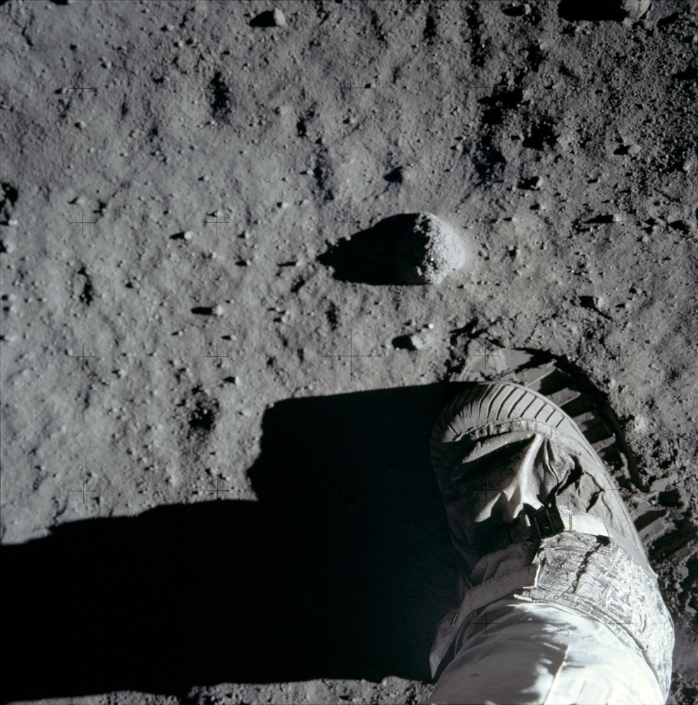 A close-up of the lunar surface with Buzz's boot and footprint. He took this photo right after the iconic footprint image.