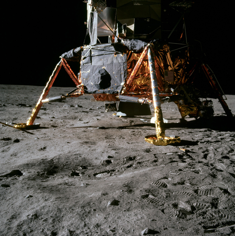 A shot of the Lunar Module with the equipment bay in the shadowed area at right center and the rockbox on the right-front corner.