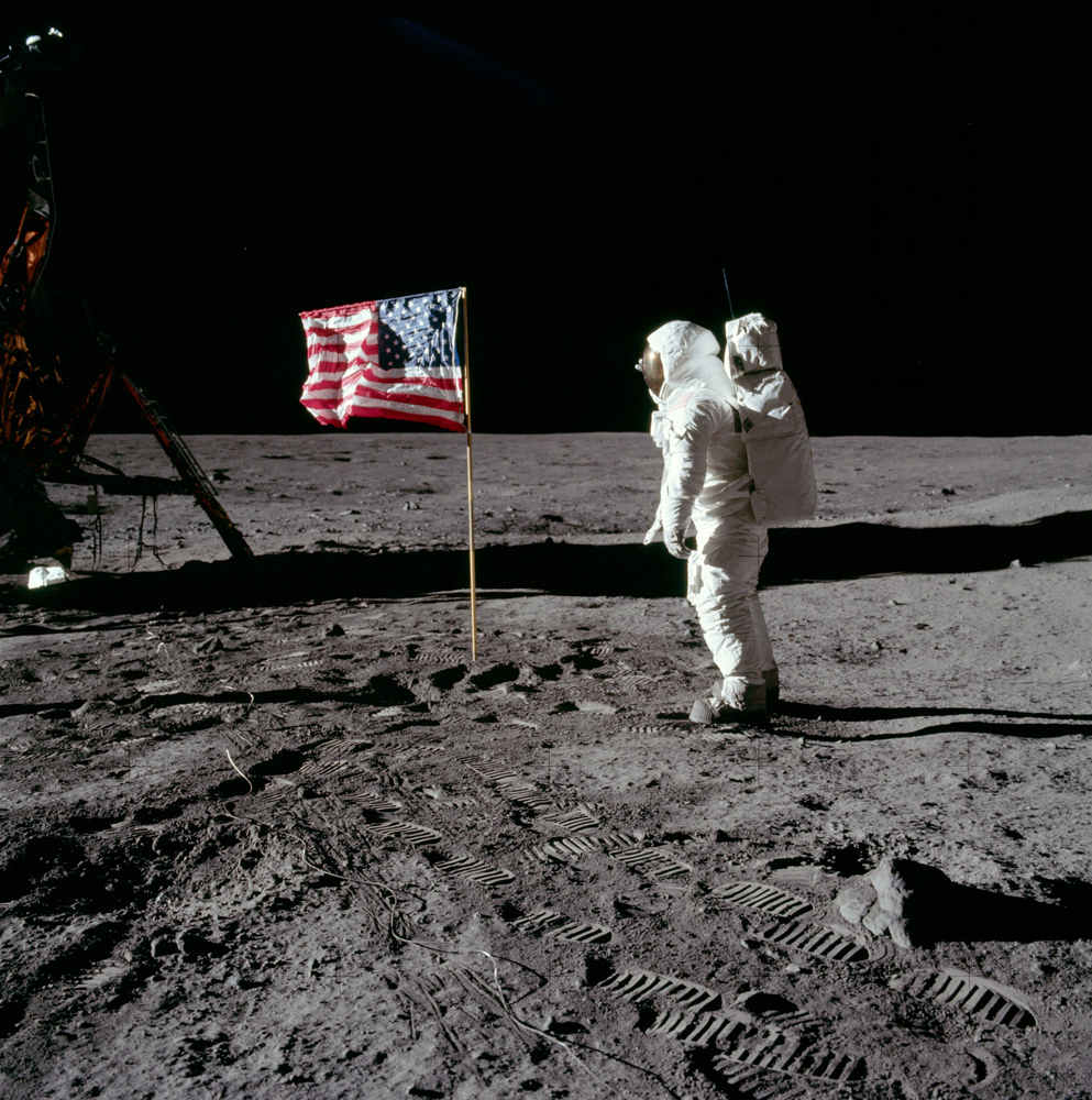 One of two photos Neil took of Buzz saluting the U.S. flag. Buzz's fingertips are visible on the far side of his faceplate.