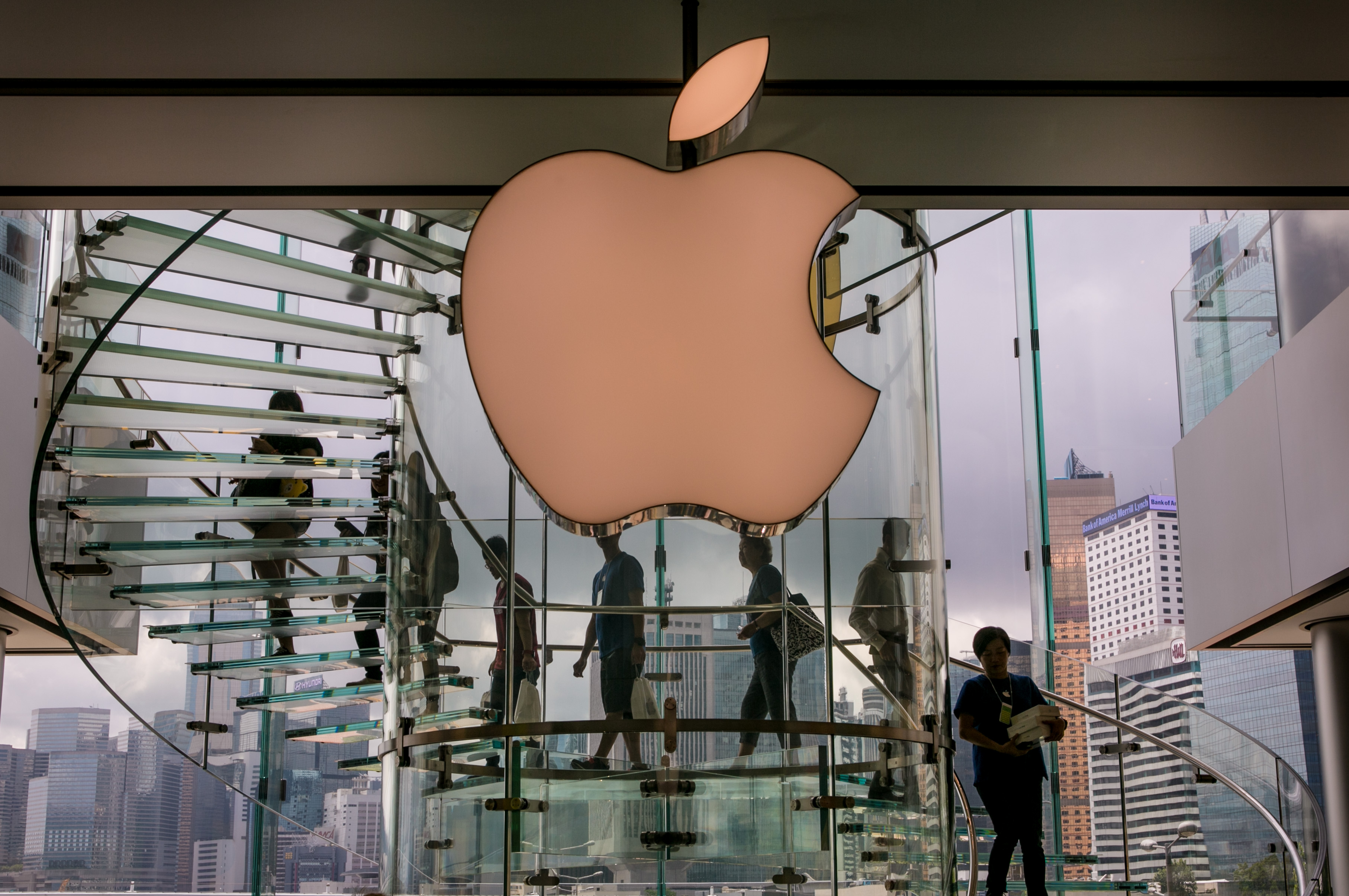 The exterior of the downtown Apple Store in Central Hong Kong in May 2014.