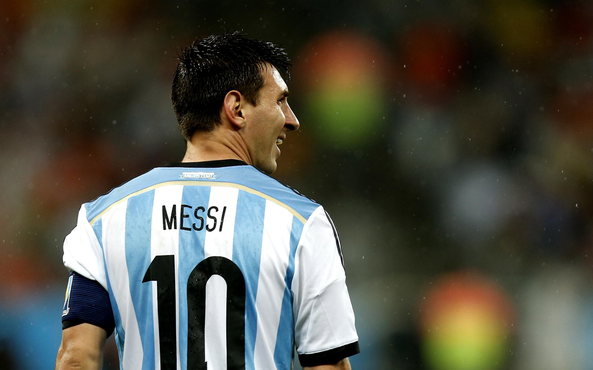 Argentina's Lionel Messi reacts during a semifinal match between Netherlands and Argentina of 2014 FIFA World Cup at the Arena de Sao Paulo Stadium in Sao Paulo, Brazil, on July 9, 2014.