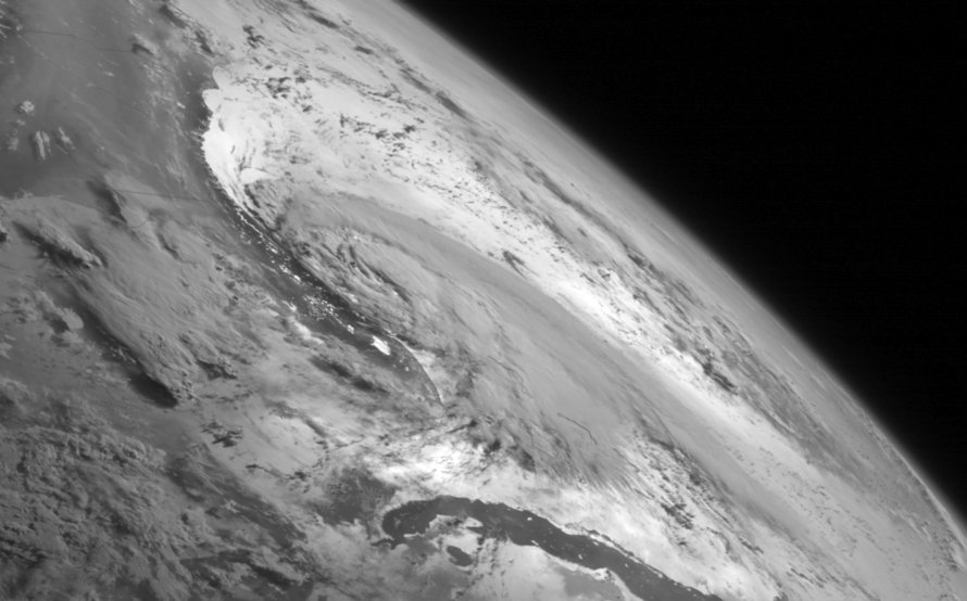 Weather system Arthur travels up the east coast of the United States in the Atlantic Ocean seen from the GOES-Wast satellite on July 2, 2014.