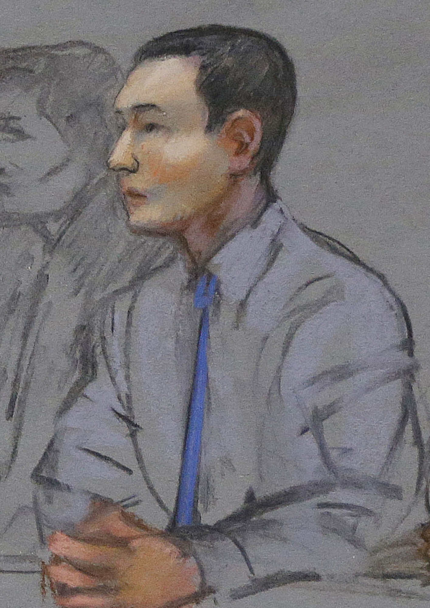 In this courtroom sketch, defendant Azamat Tazhayakov, a college friend of Boston Marathon bombing suspect Dzhokhar Tsarnaev, sits during a hearing in federal court in Boston on May 13, 2014.