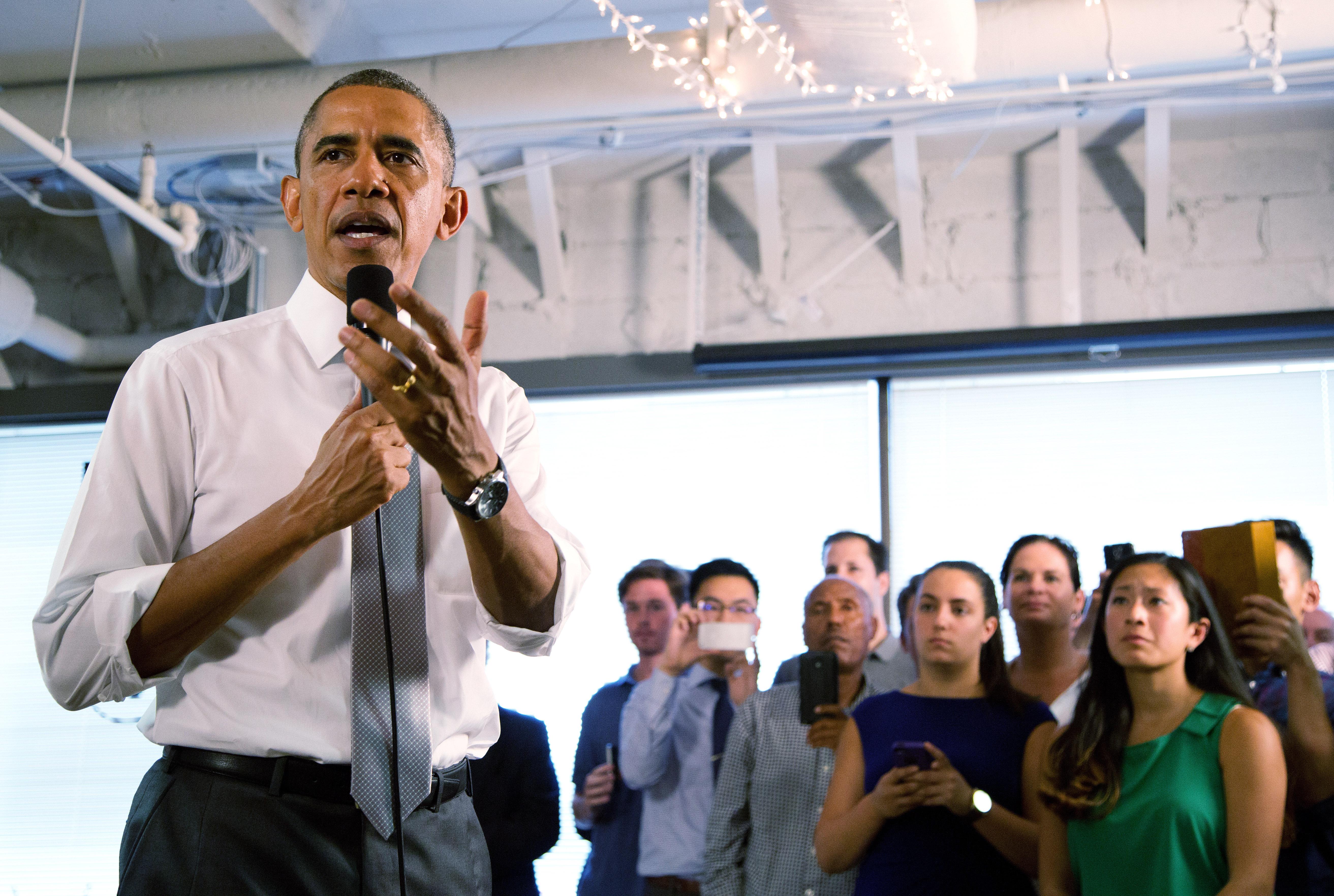 U.S. President Barack Obama speaks about the economy at the technology start-up hub  1776  July 3, 2014 in Washington, DC.